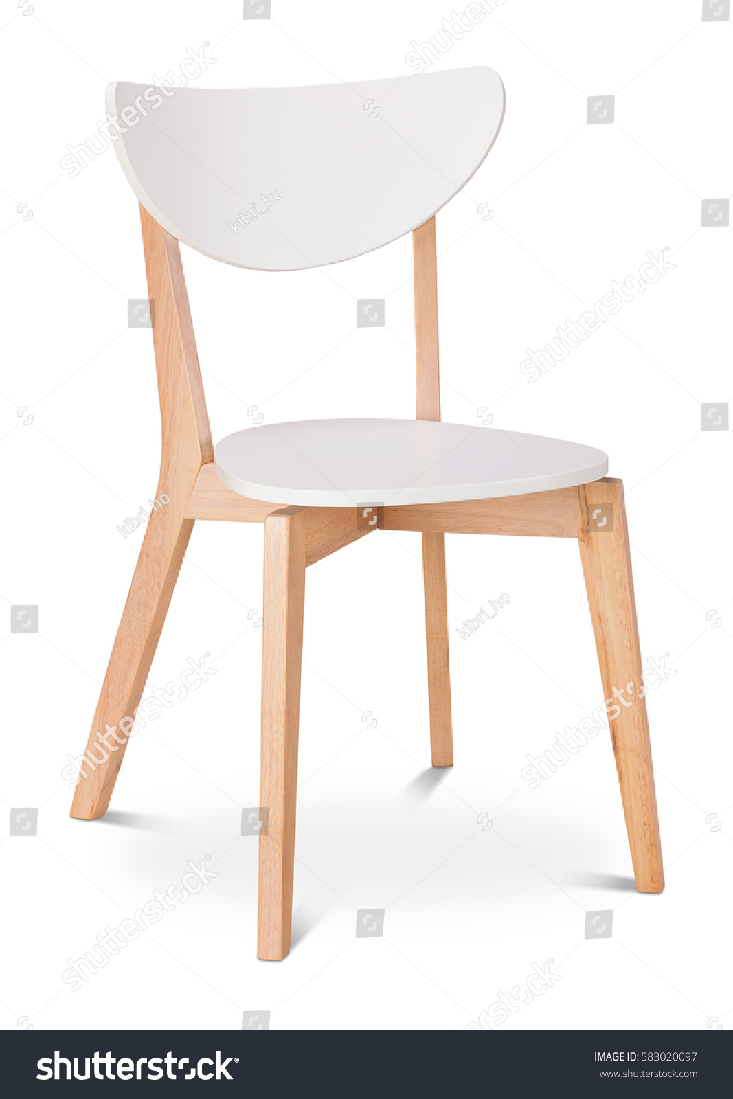 White color chair, plastic, wooden, leather chair, modern designer. Chair isolated on white background. Series of furniture #583020097