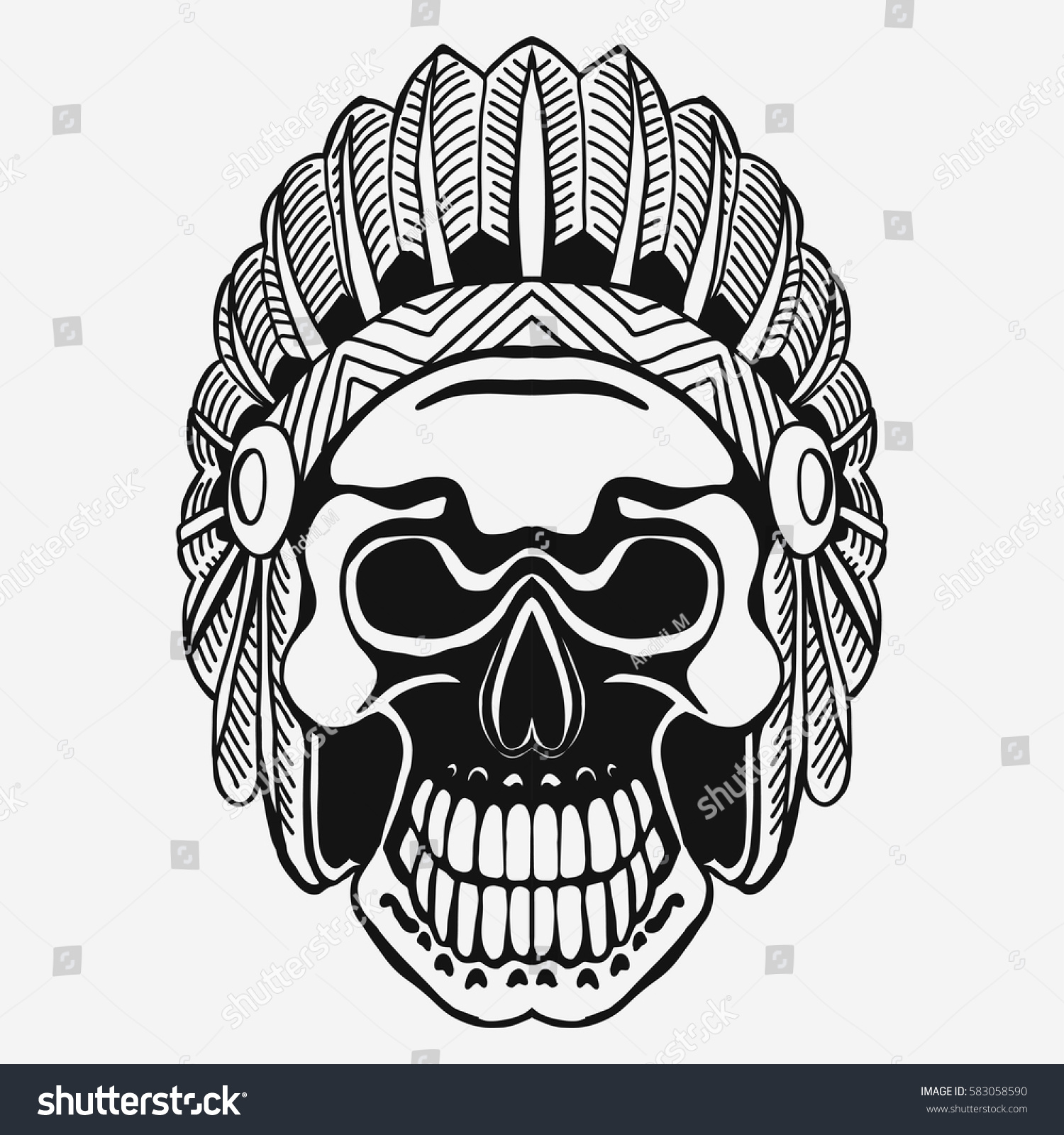 Indian skull with tribal feather hat dead chief in war bonnet native