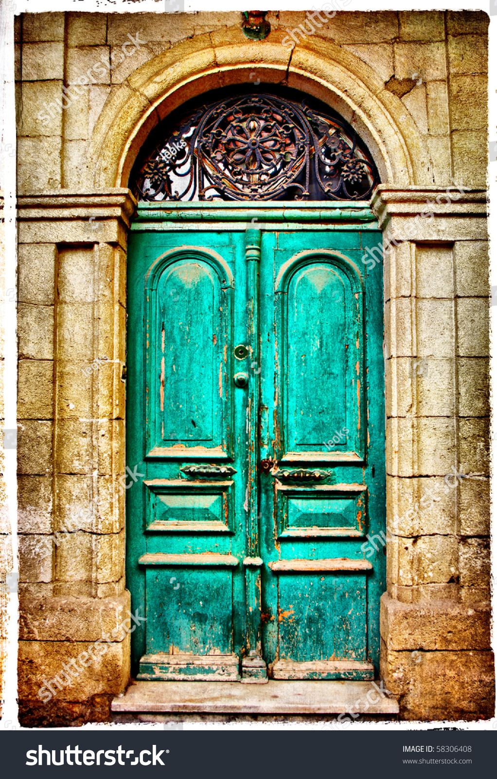 Old Doors Greece Artistic Toned Picture Stock Illustration