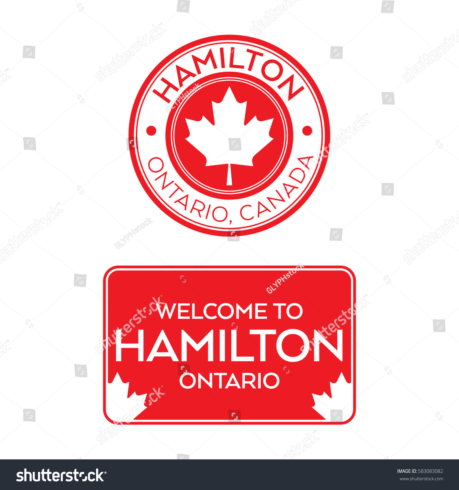 A crest and a welcome sign for hamilton ontario canada that features maple leaves