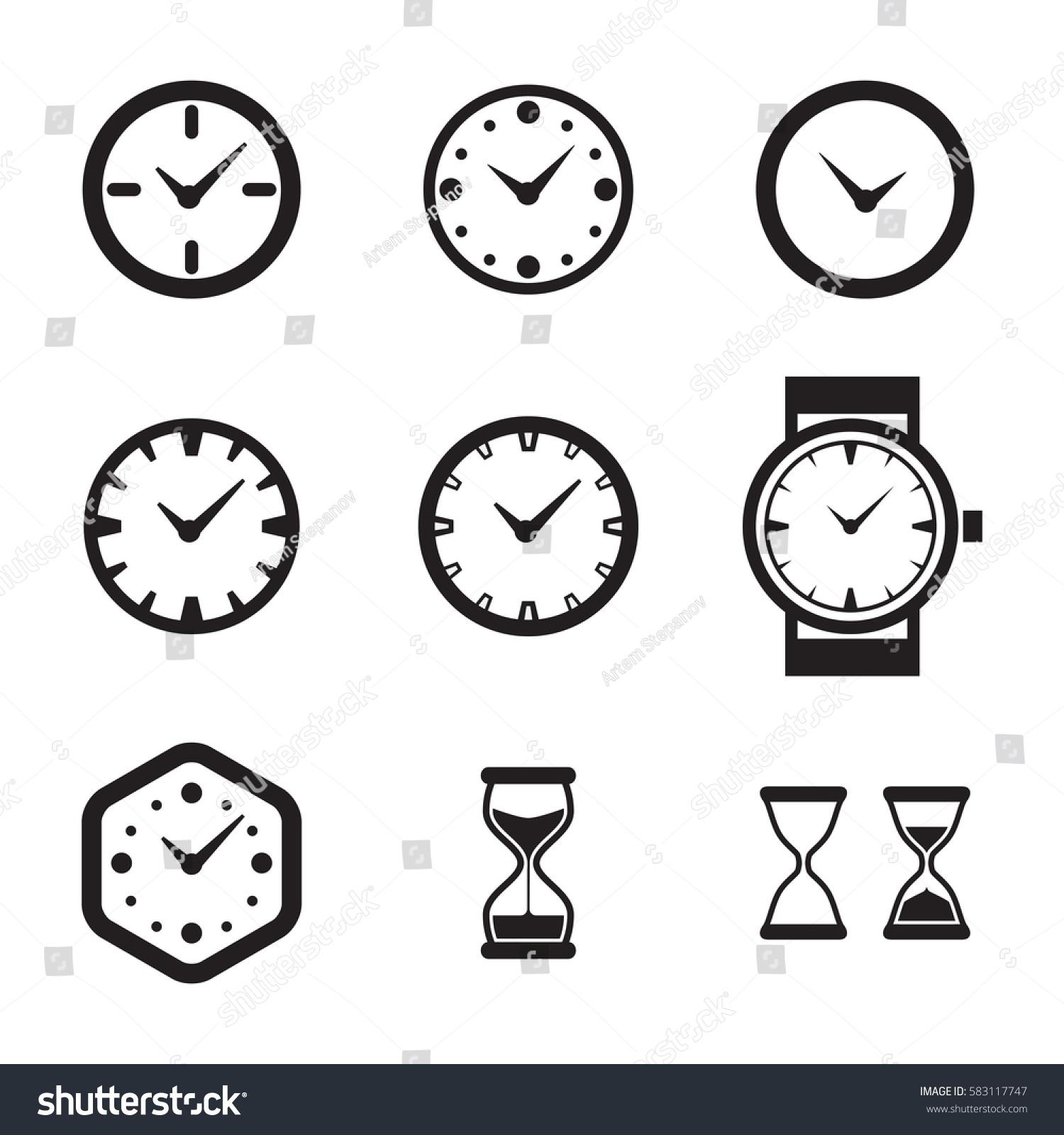 Clock Icon Isolated Time Logo Template Stock-Vektorgrafik 583117747 ...