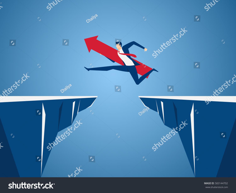 Businessman red arrow sign jump through stock vector for Jump the gap