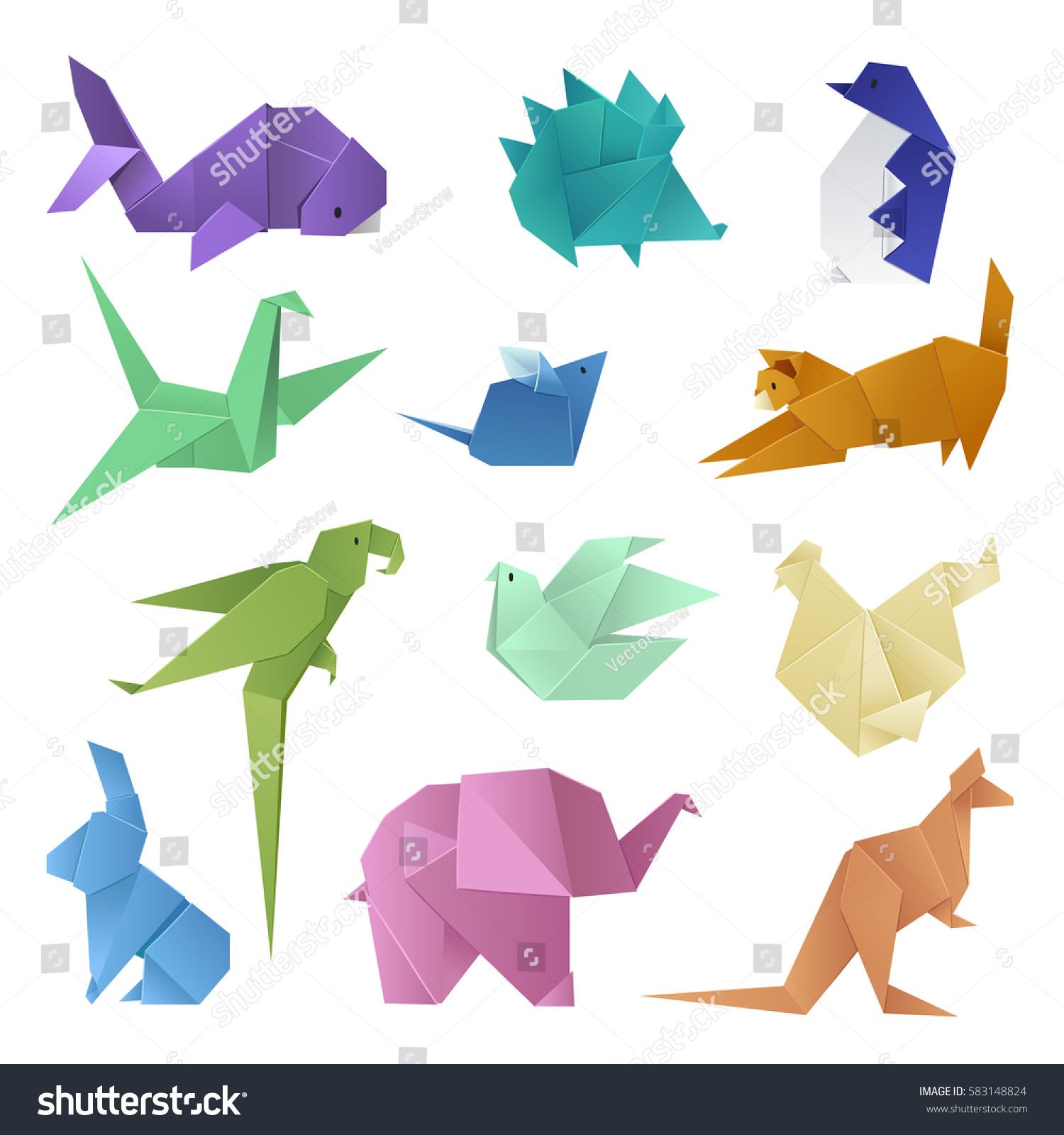 Origami different paper animals geometric game stock vector origami different paper animals geometric game japanese toys design and asia traditional decoration origami original paper jeuxipadfo Images