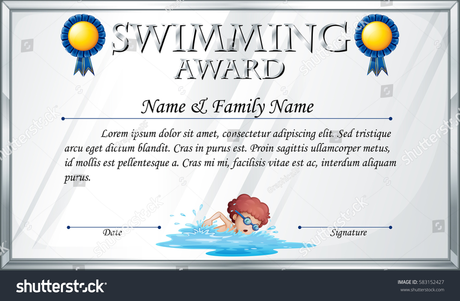 Certificate template swimming award illustration stock vector certificate template for swimming award illustration xflitez Gallery