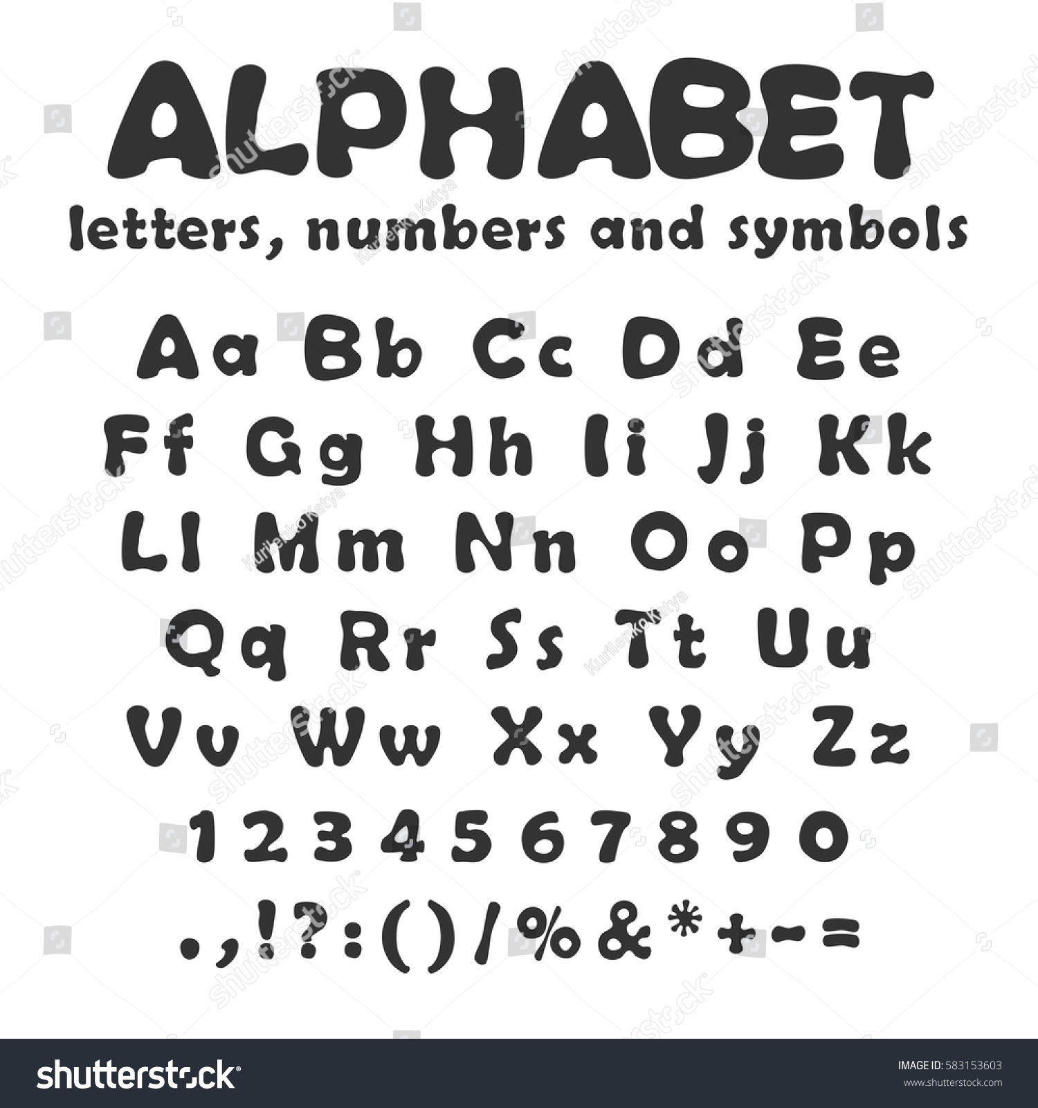 Uppercase Lowercase Letters Numbers Symbols Alphabet Stock Vector