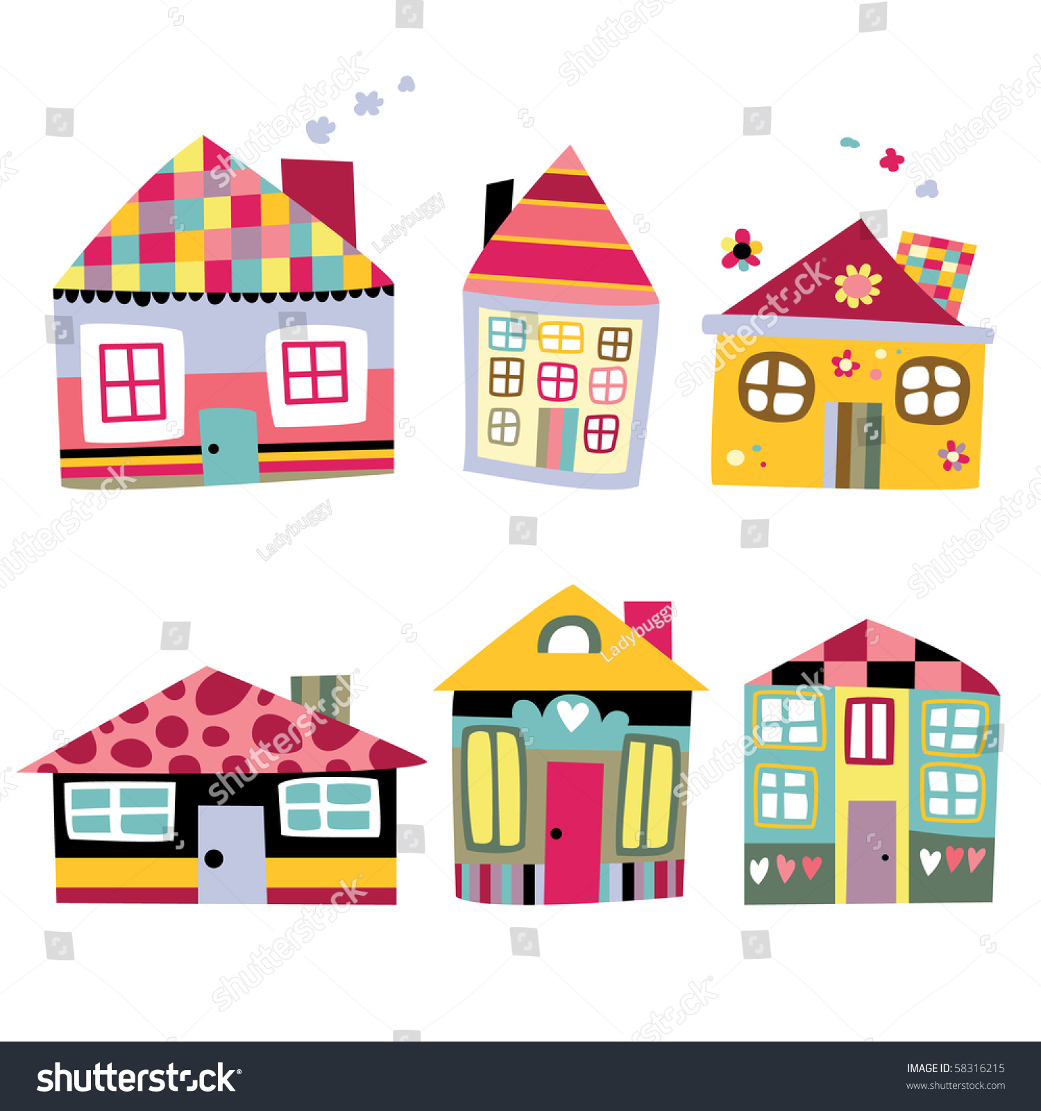 Collection cute houses whimsical childlike style stock for Cute house images