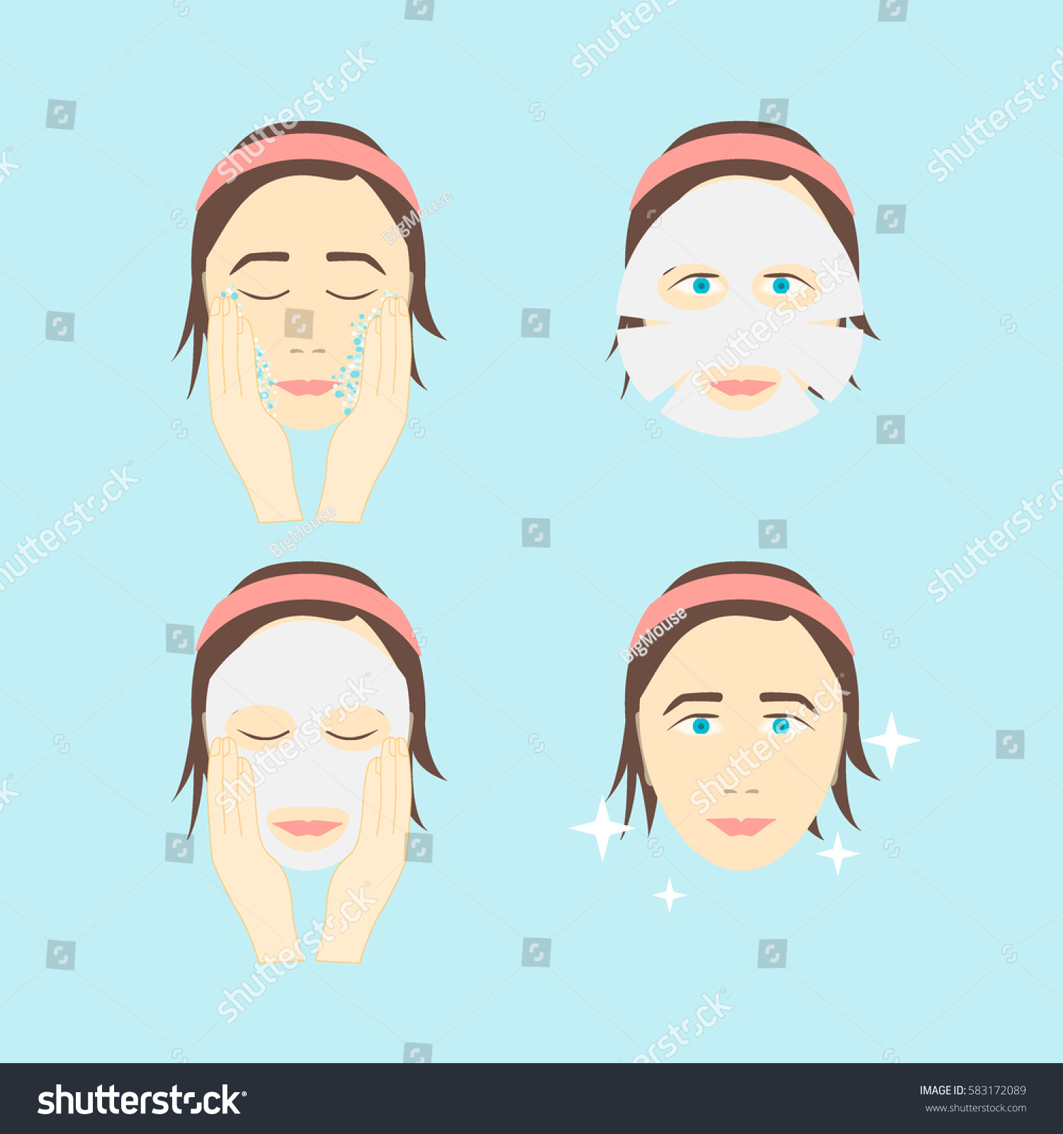 Step by step facial masks
