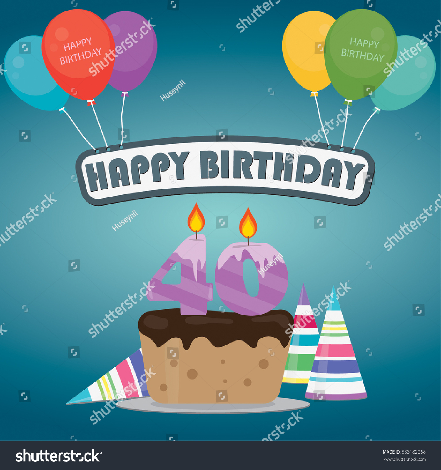 40th Birthday Cake Decoration Background Flat Stock Vector 583182268