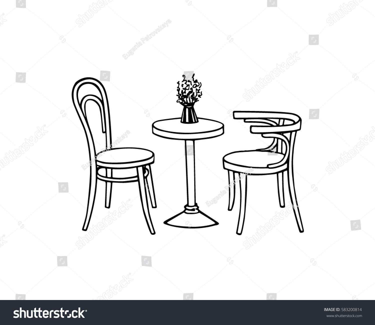 Vector Illustration Hand Drawn Coffee Table Stock Vector