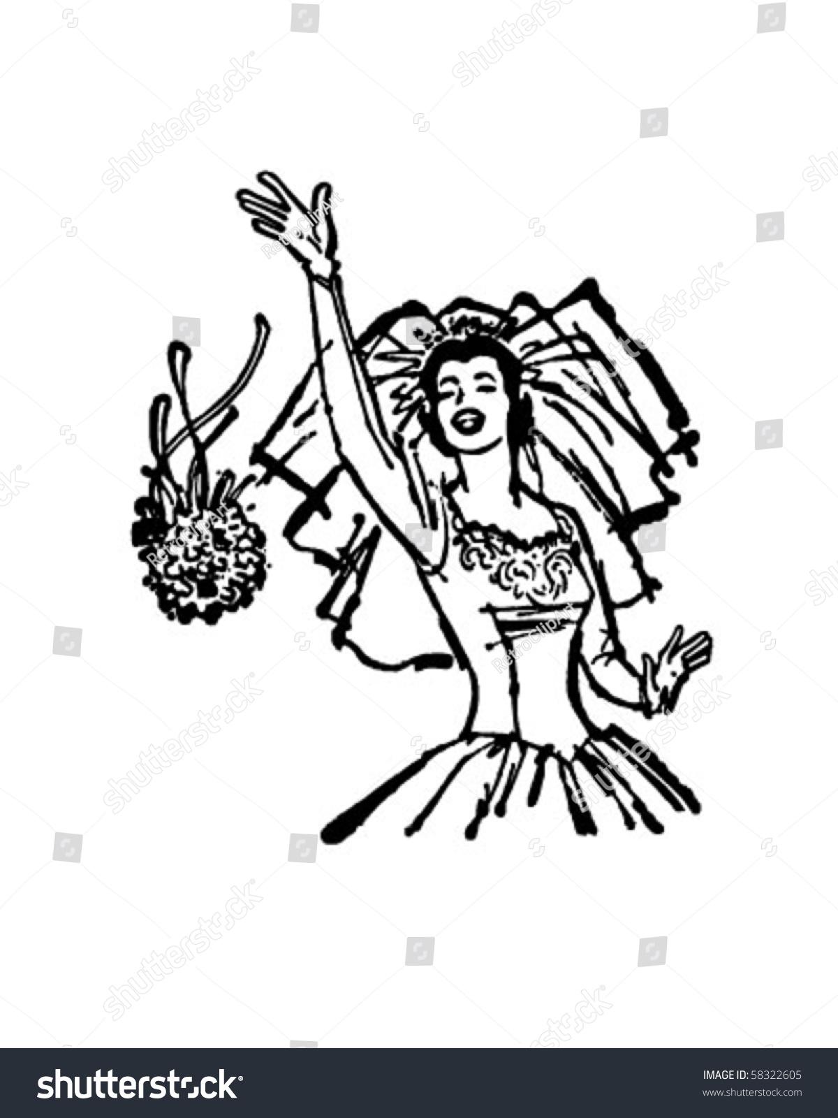 Bride Throwing Bouquet Retro Clip Art Stock Vector (Royalty Free ...