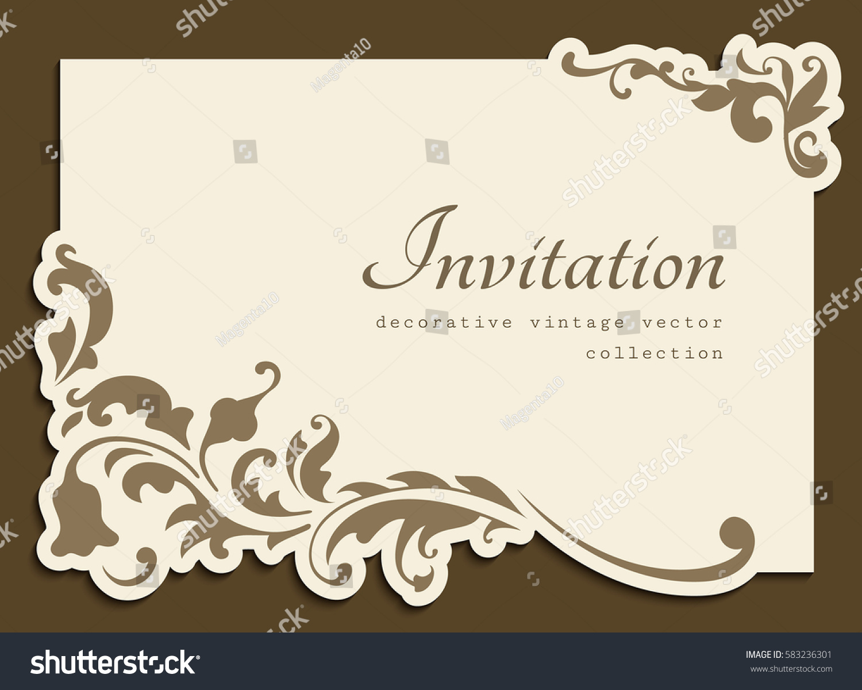 Vintage gold rectangle frame floral corner stock vector royalty vintage gold rectangle frame with floral corner decoration and cutout paper border vector wedding invitation stopboris Images