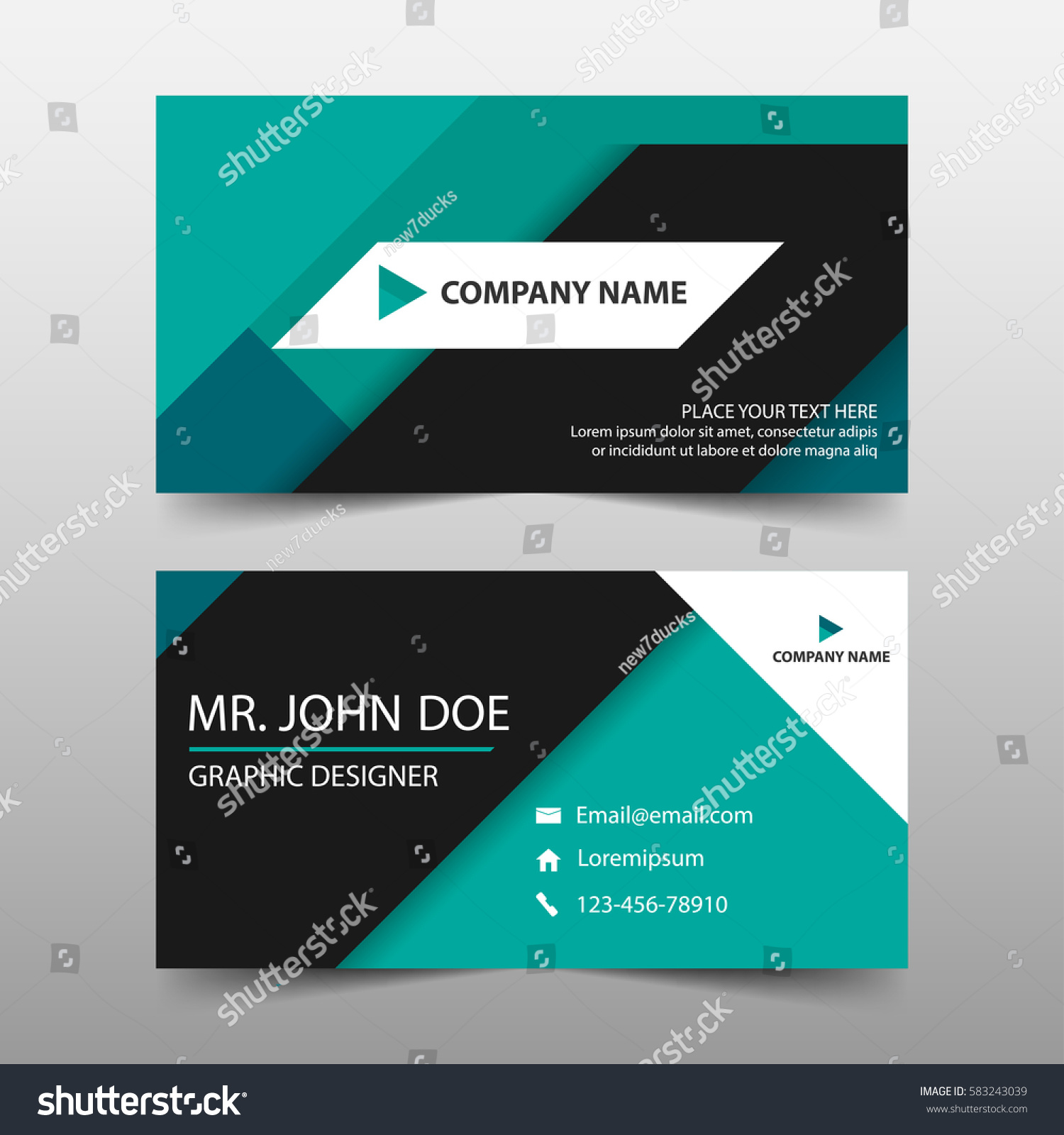 Green Corporate Business Card Name Card Stock Vector