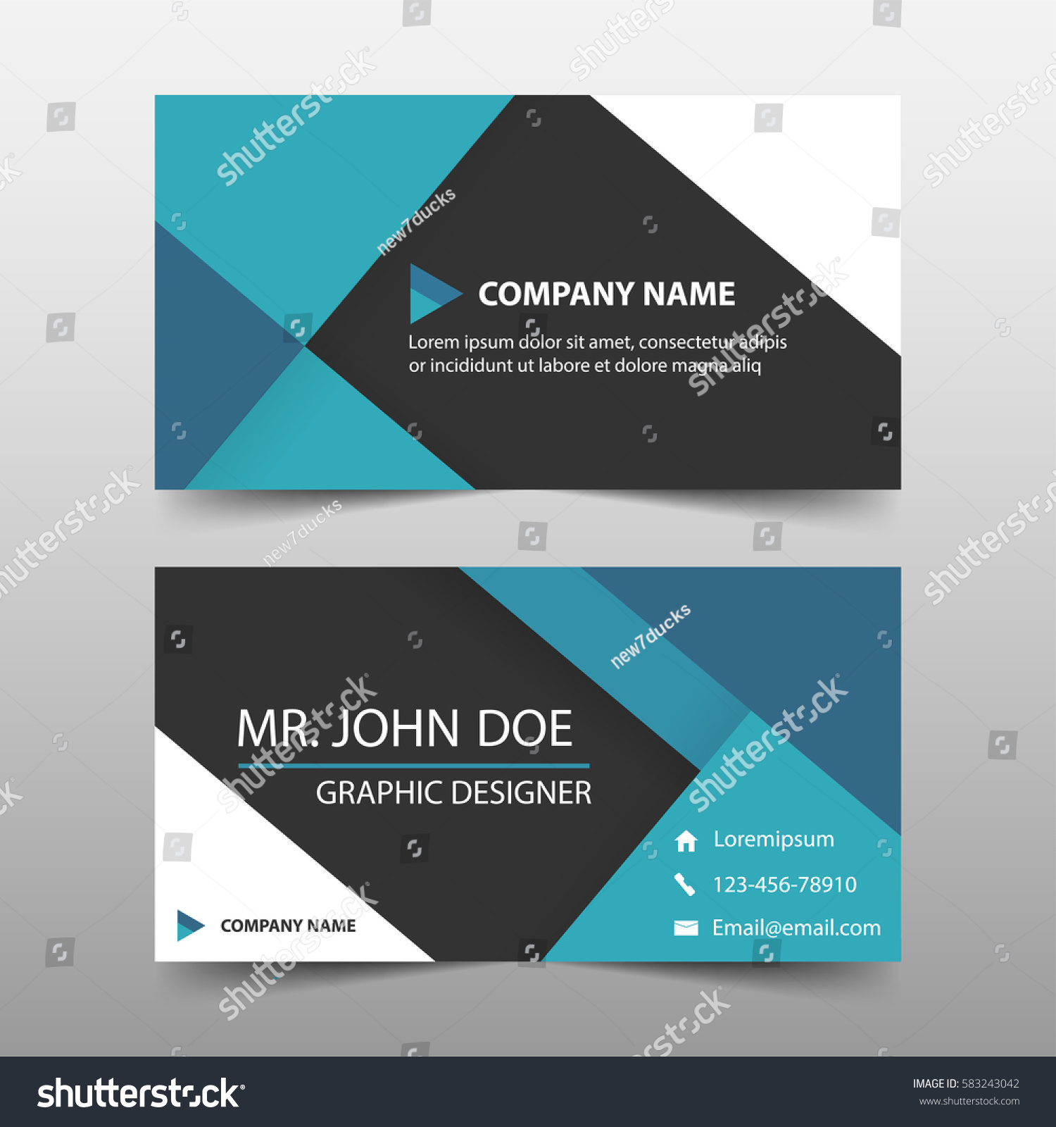 Blue Corporate Business Card Name Card Stock Vector 583243042 ...