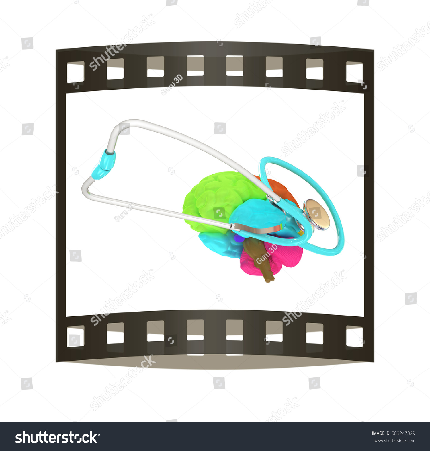 Stethoscope Brain 3 D Illustration Film Strip Stock Remote Concept Diagram And 3d The
