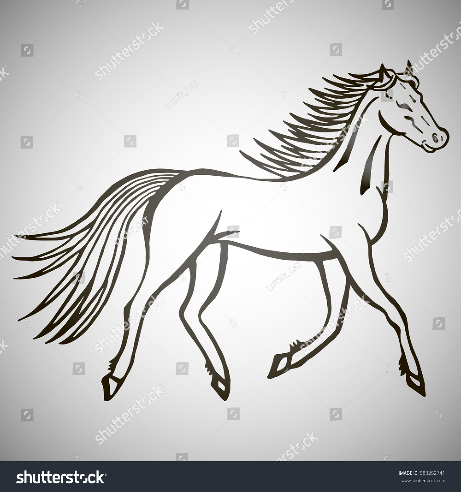 Vector De Stock Libre De Regalias Sobre Illustration Hand Drawn Running Wild Horse583252741