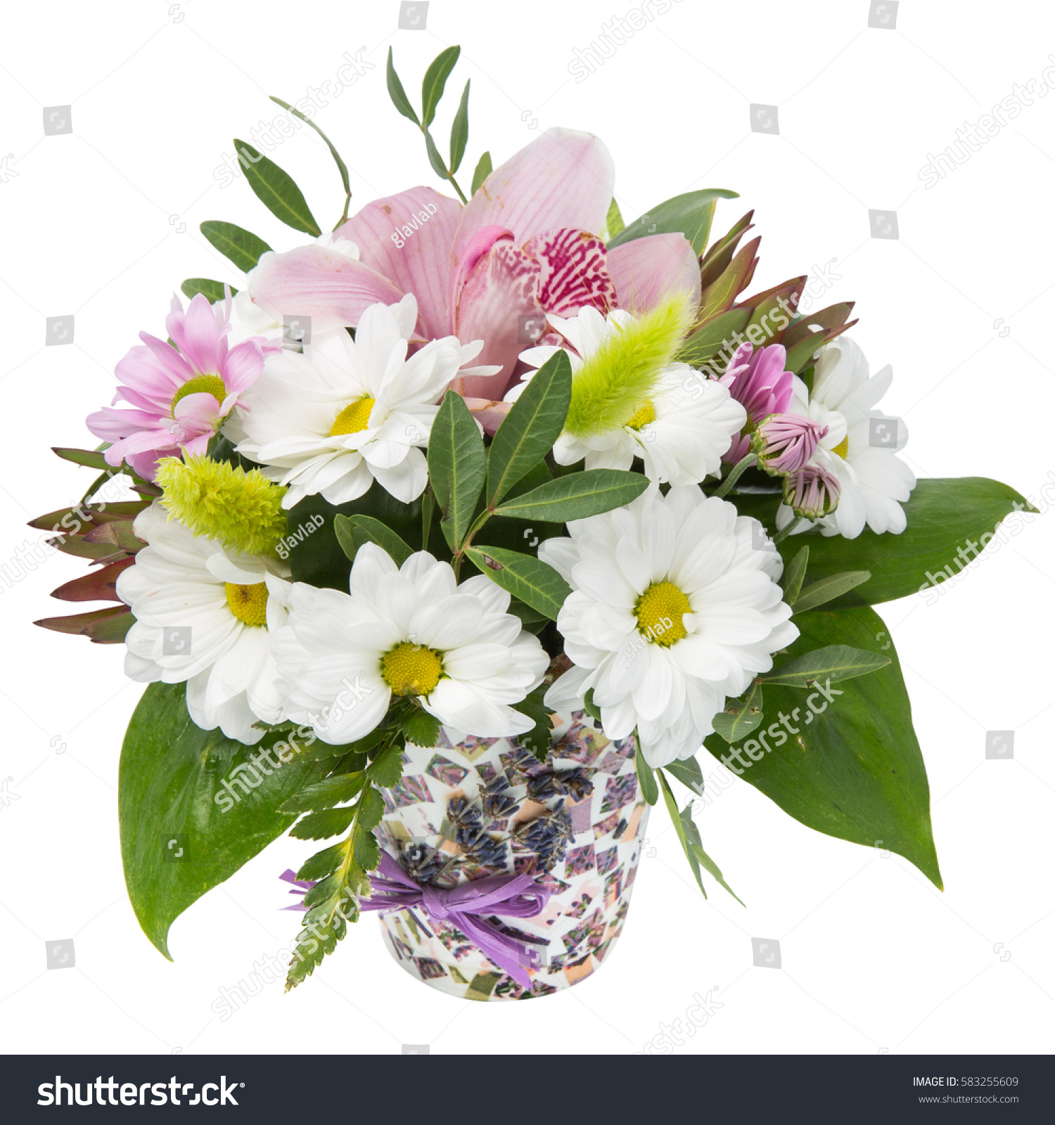 Bouquet Flowers Chamomile Gerbera Lily Spring Stock Photo (Royalty ...