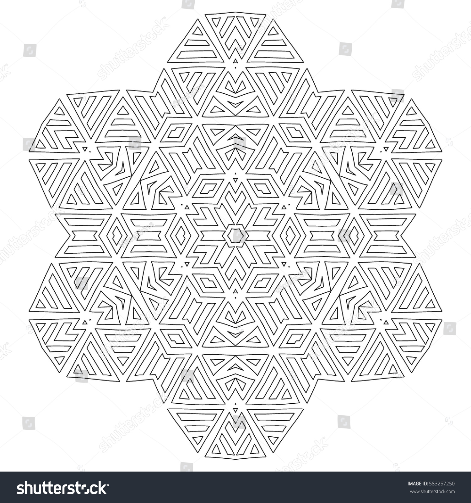 Adult Coloring Book Round Geometric Pattern Stock Vector 583257250 ...