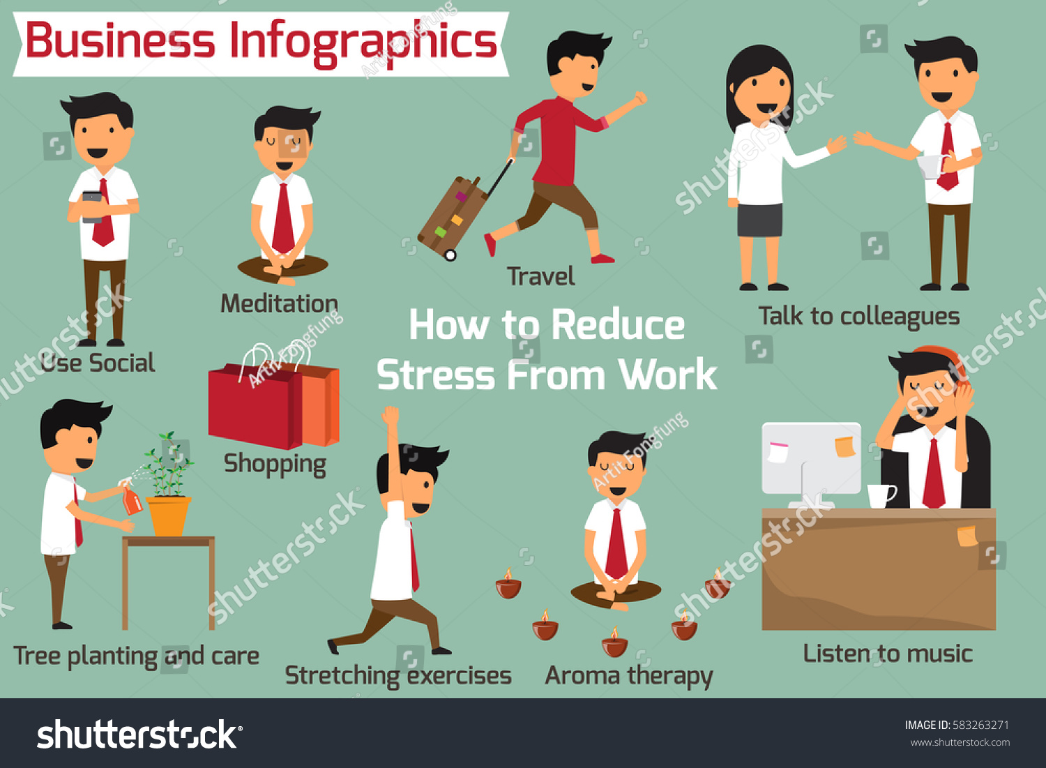 how eliminate reduce stress work business stock vector  how to eliminate or reduce stress at work business infographics vector illustration
