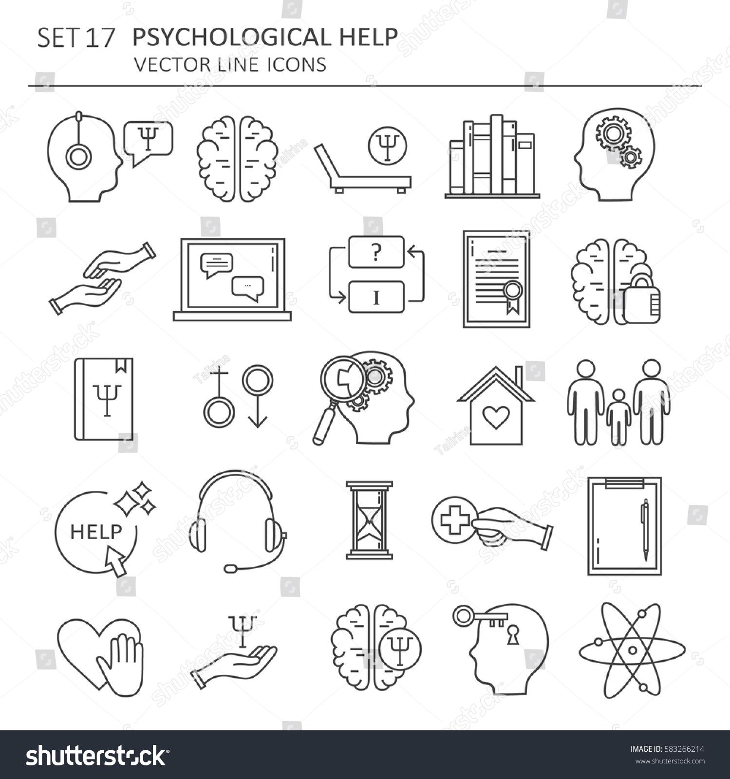 Big Set Symbols Psychological Help Modern Stock Vector