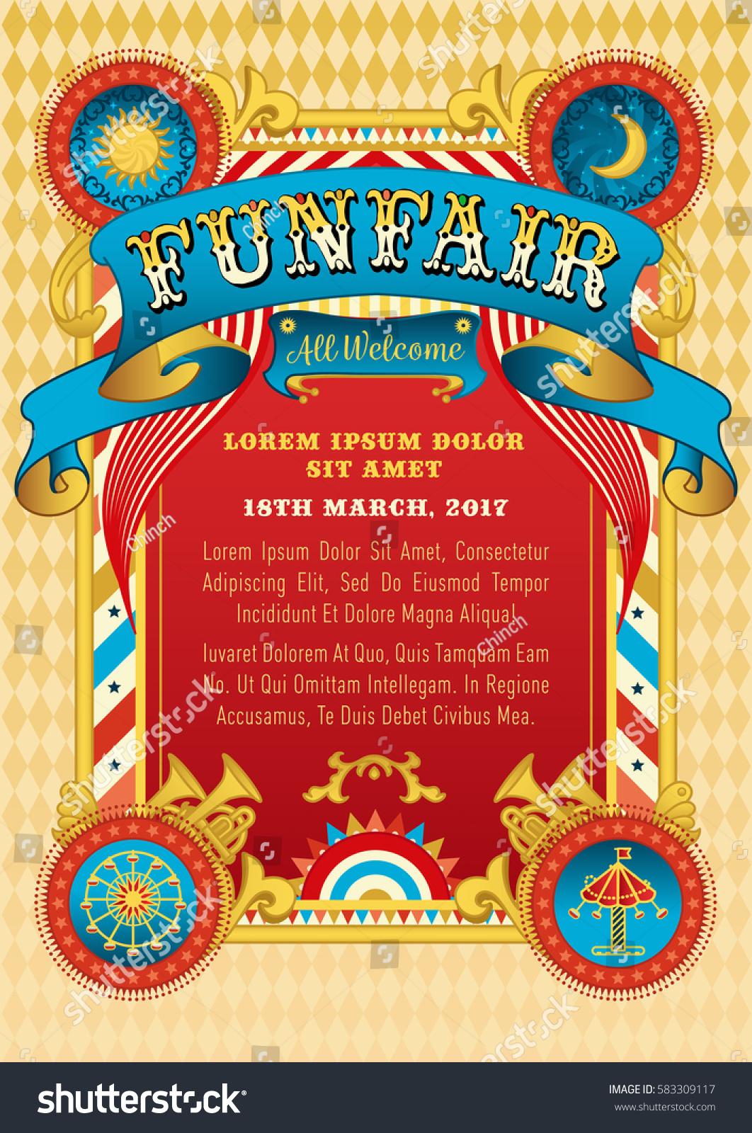 Funfair Vector Template Circus Tent Retro Stock Vector Royalty Free
