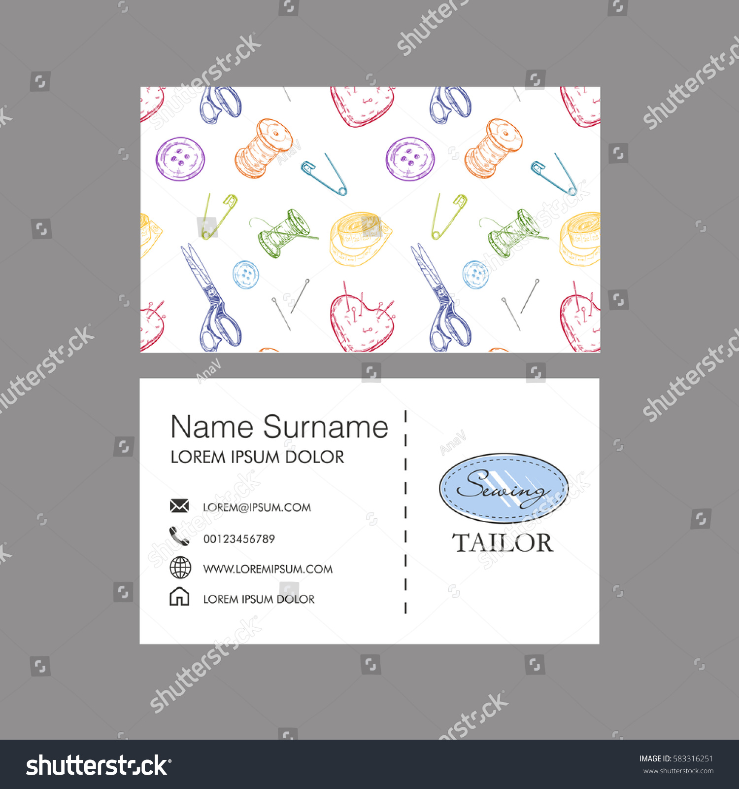 Sewing tailor concept business card vector stock vector 583316251 sewing tailor concept business card vector template magicingreecefo Image collections
