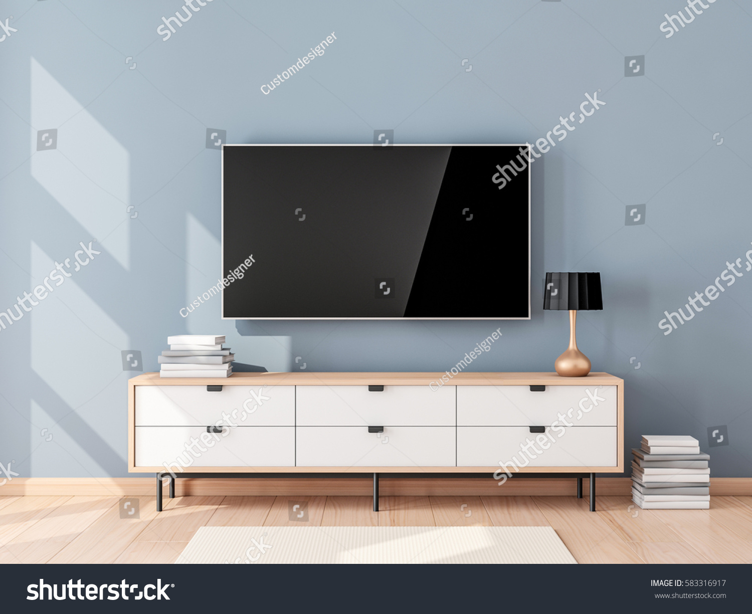 Smart Tv Mockup With Blank Screen Hanging On The Wall In Modern Living Room 3d