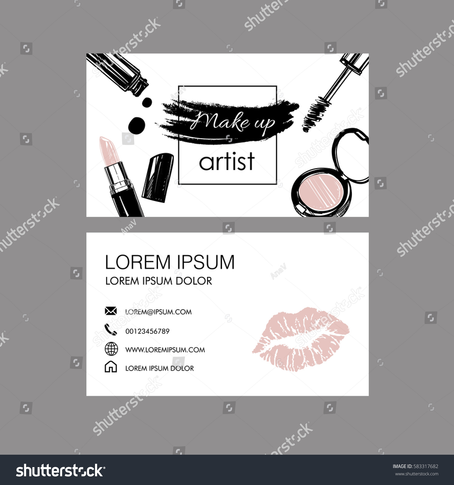 Makeup Artist Business Card Vector Template Stock Vector (2018 ...