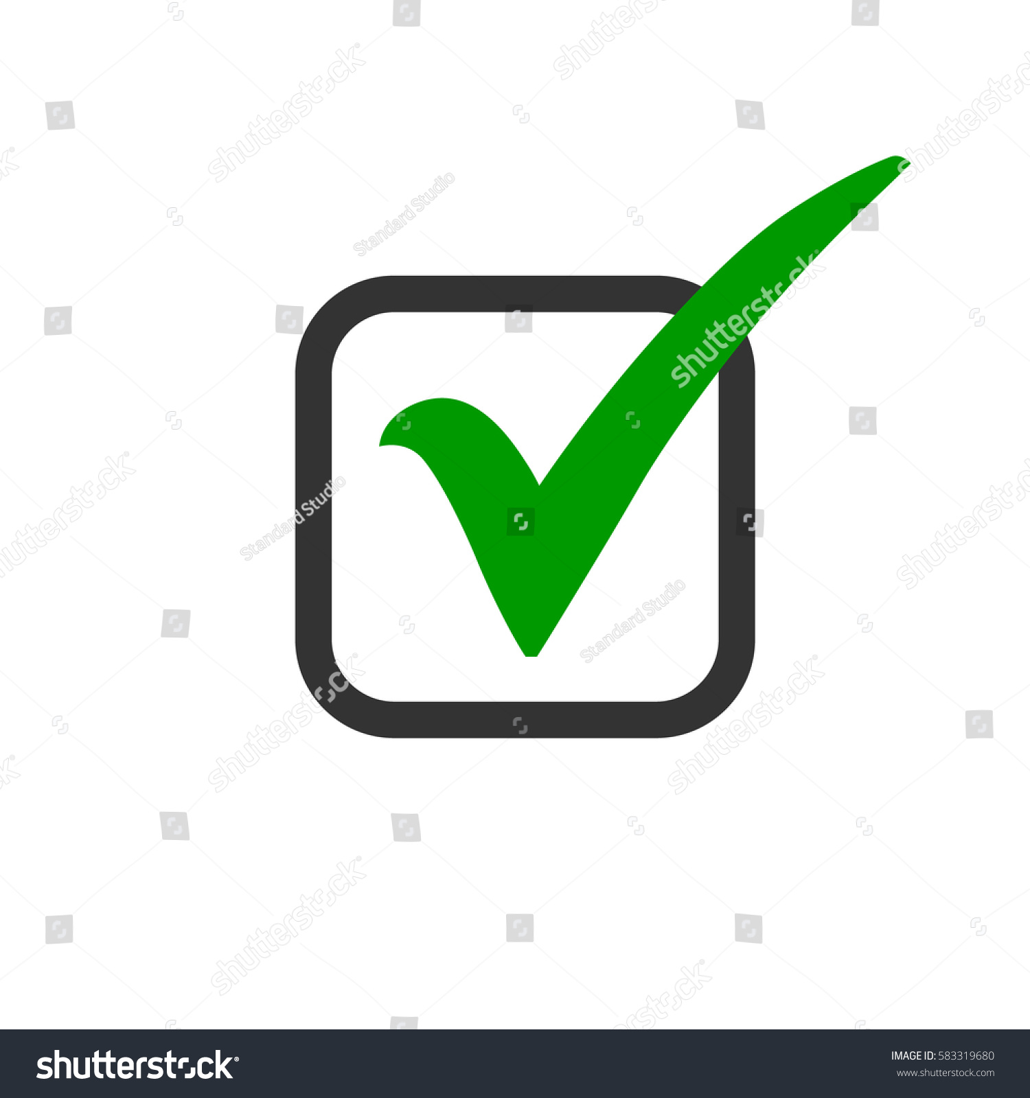 Green check mark icon box tick stock vector 583319680 shutterstock green check mark icon in a box tick symbol in green color vector illustration biocorpaavc Image collections