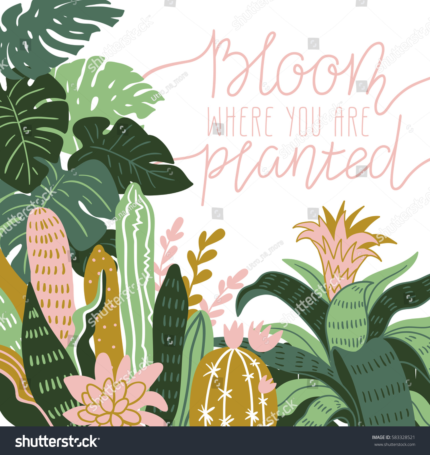 hand drawn wild tropical house plants stock vector 583328521