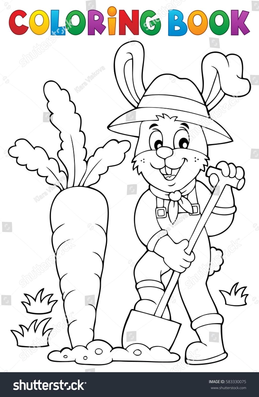 coloring book rabbit gardener theme 1 eps10 vector illustration