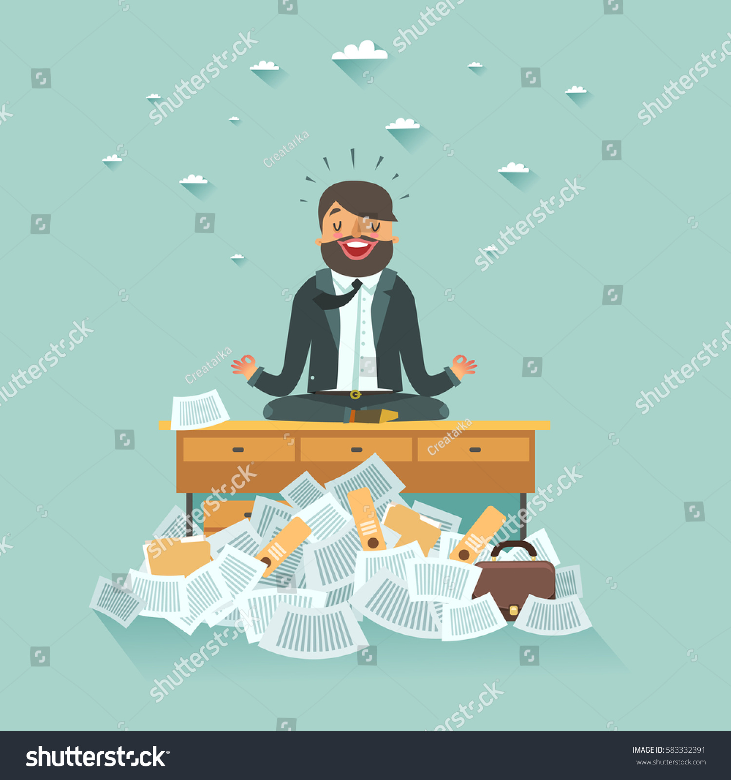 meditation businessman office. overworked businessman meditating on office table under a lot of documents work meditation