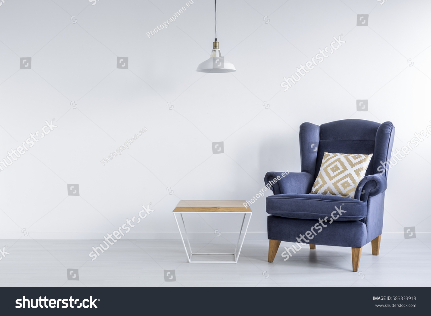 Ascetic Room Blue Armchair Side Table Stock Photo ...
