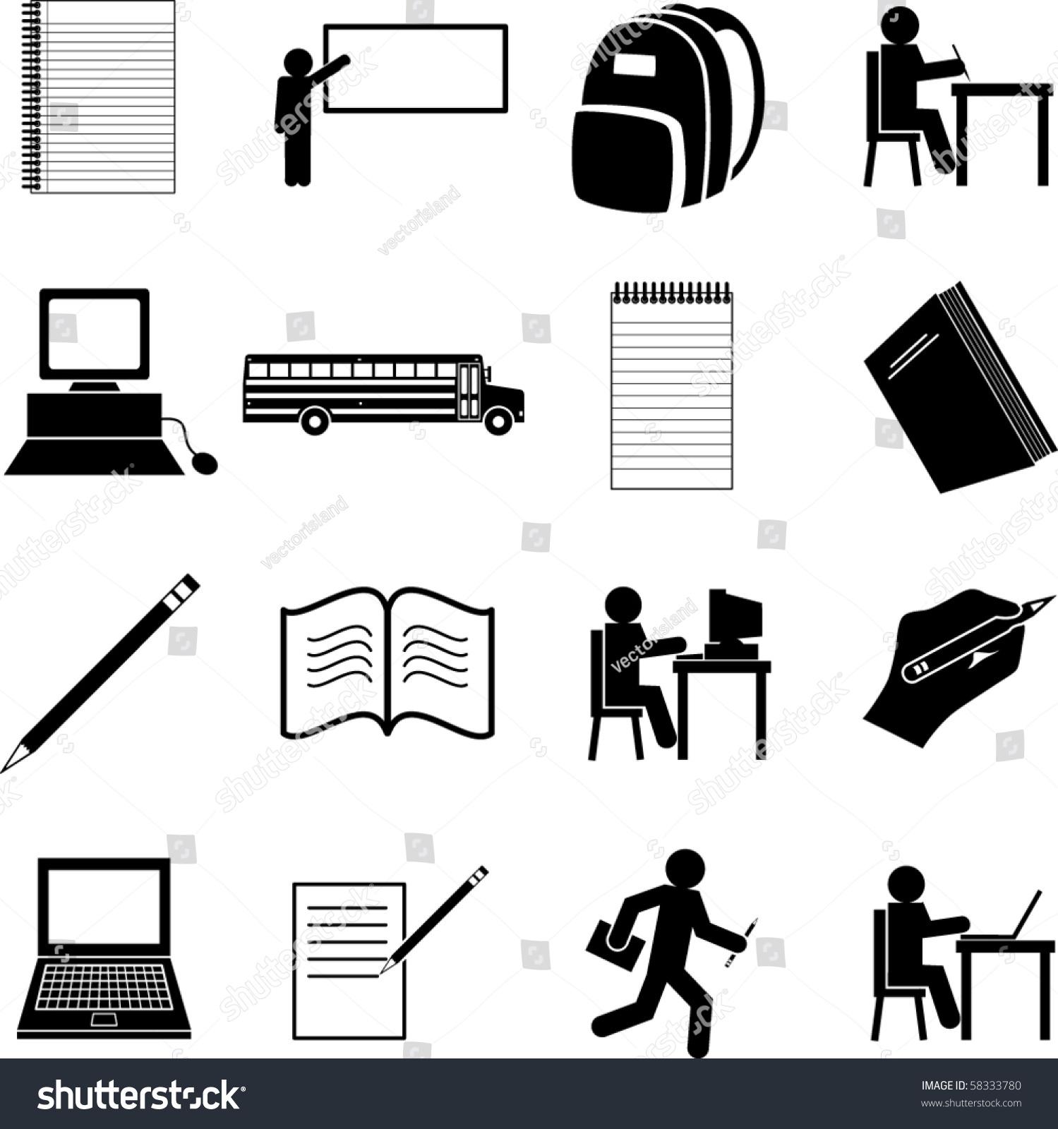 School symbols set stock vector 58333780 shutterstock school symbols set buycottarizona Image collections