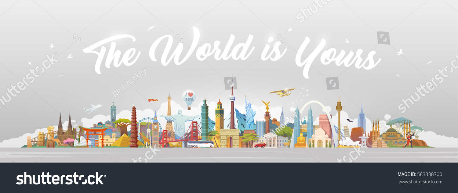 Travel to World. Road trip. Big set of famous landmarks of the world. Concept website template. Vector illustration. Web banner. Modern flat design. #3