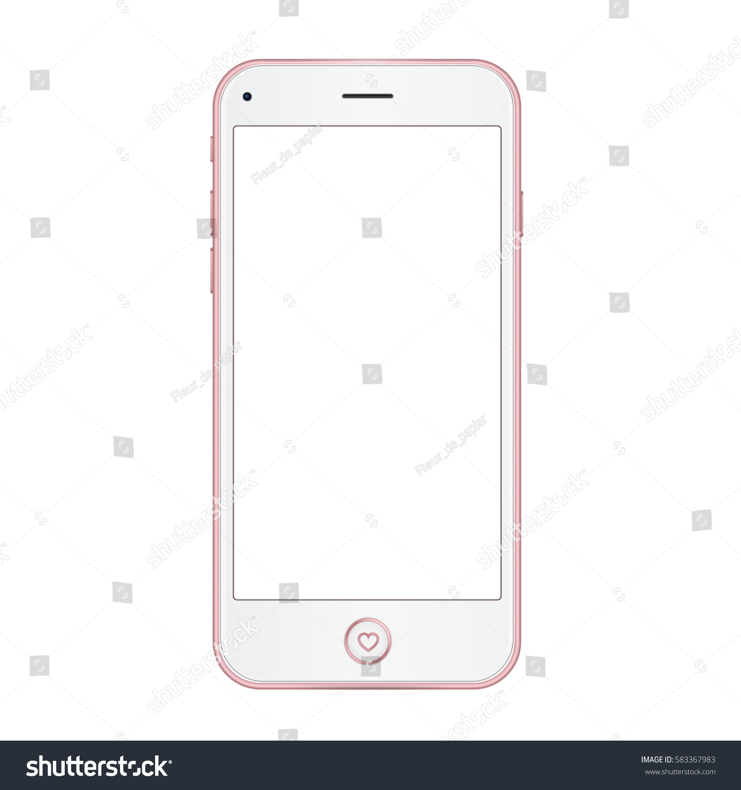 Single Pink Mobile Template With Blank Screen On White Background Vector Realistic Illustration