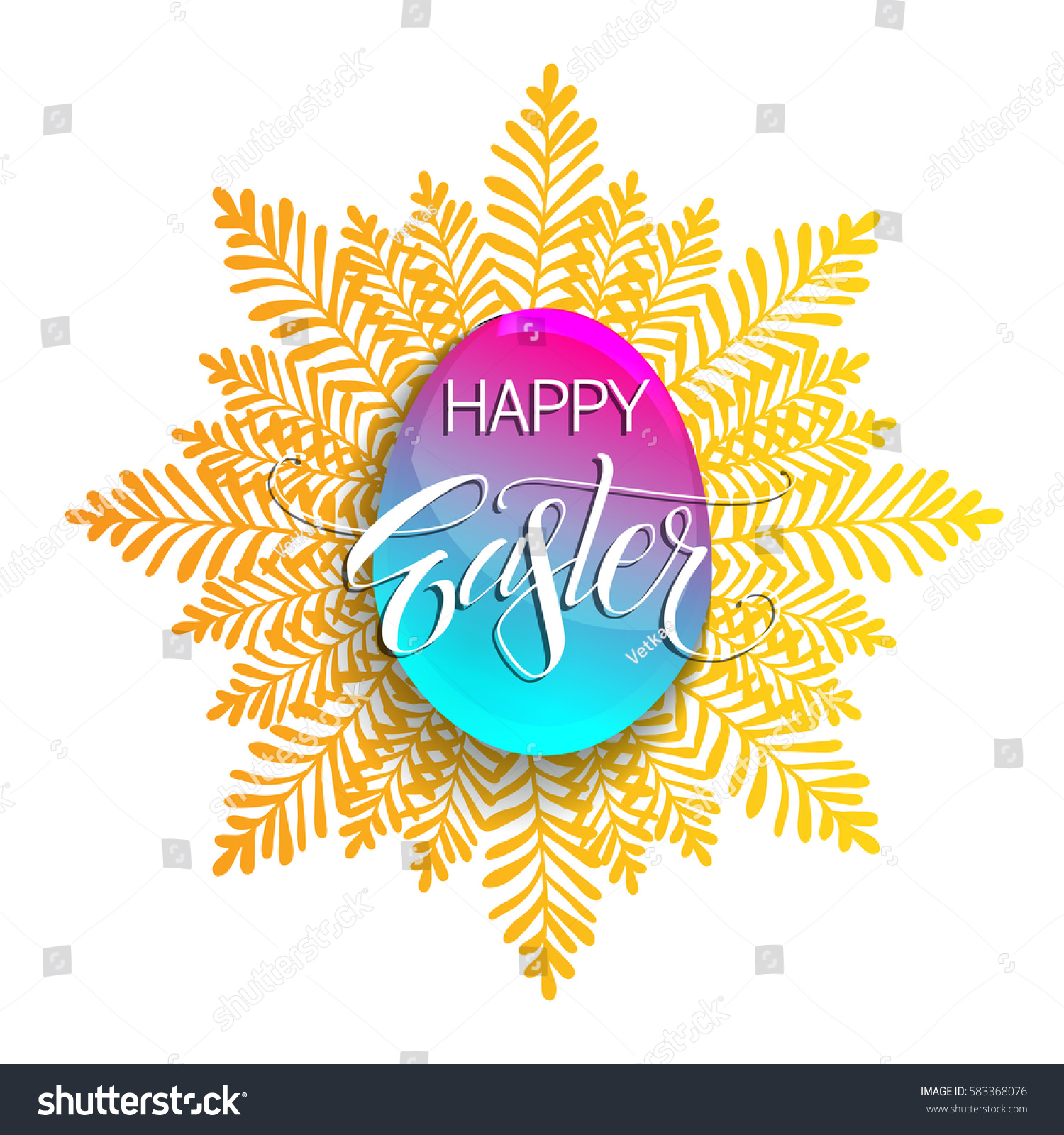 Happy Easter Vector Inscription Holiday Greetings Stock Vector