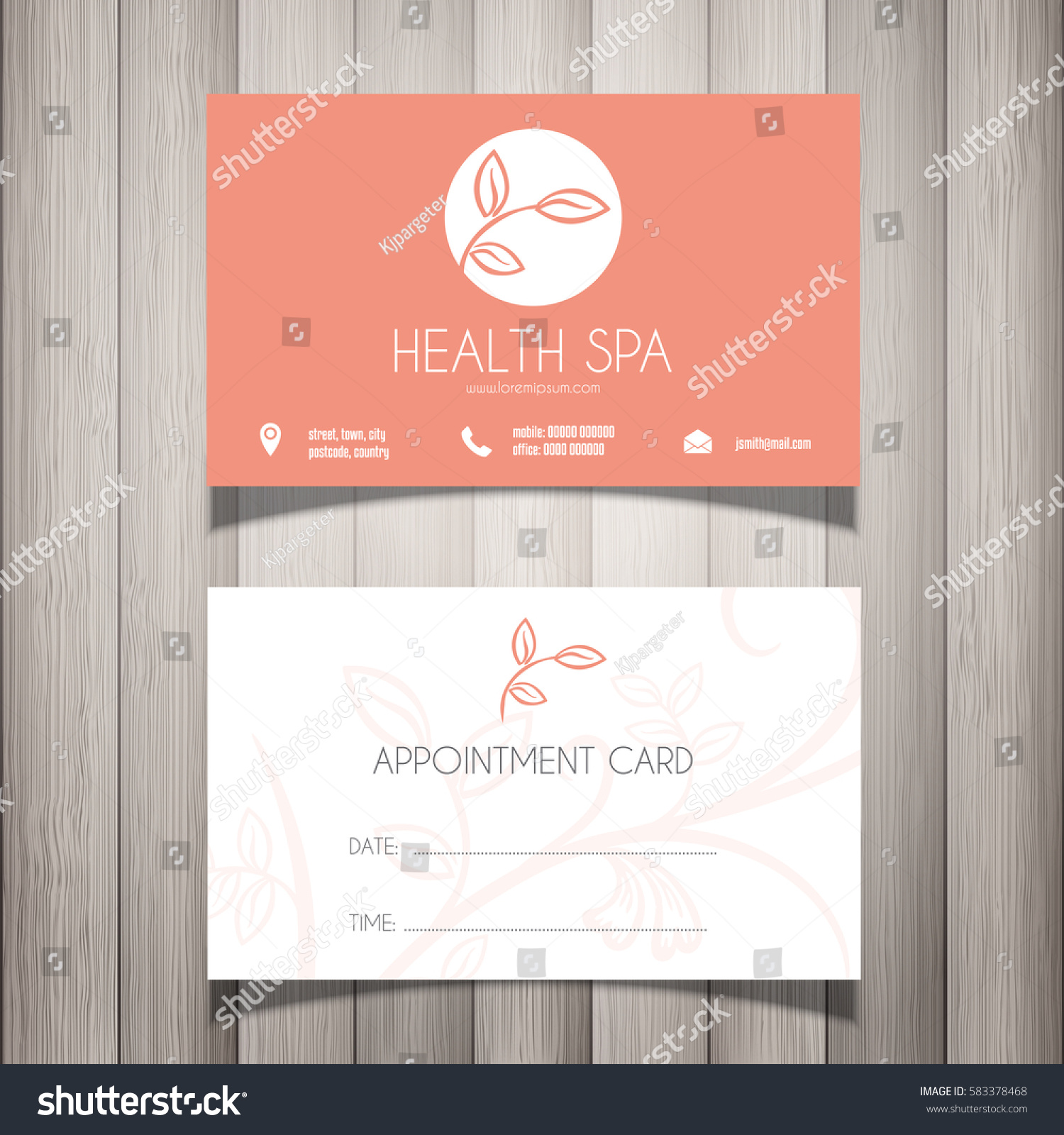 Health Spa Beautician Business Card Appointment Stock Vector ...