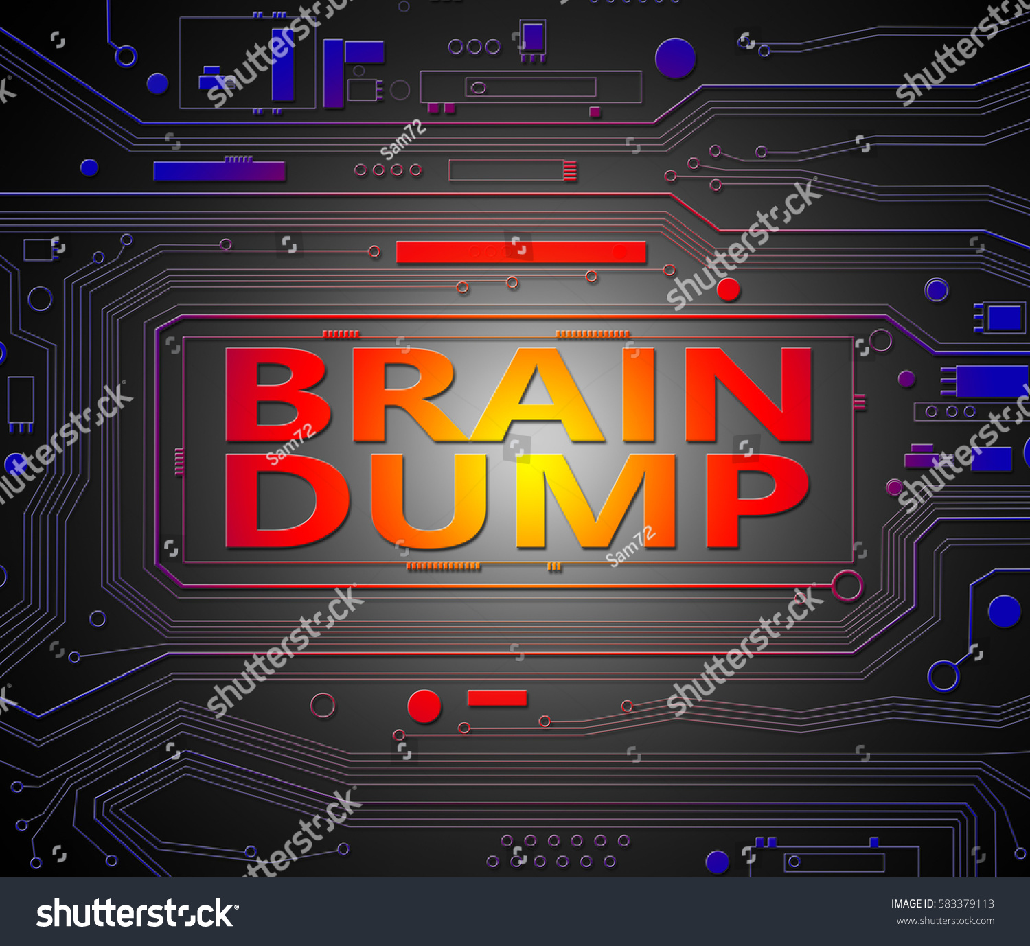 3 D Illustration Depicting Printed Circuit Board Stock Pcb The Printedcircuitboard 3d Royalty Free Photography Components With A Brain Dump Concept