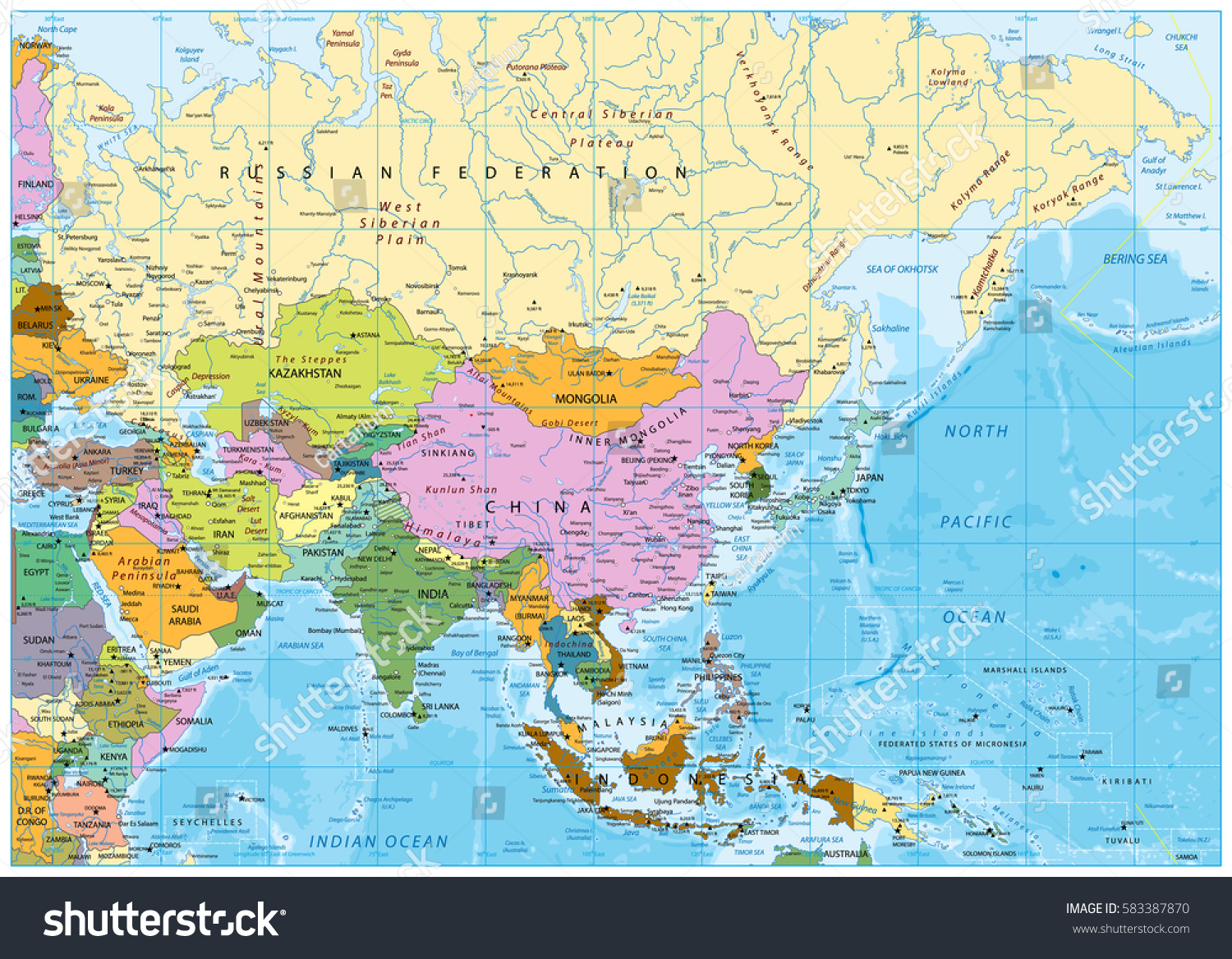 Asia political map rivers lakes elevations stock vector 2018 asia political map with rivers lakes and elevations gumiabroncs Gallery