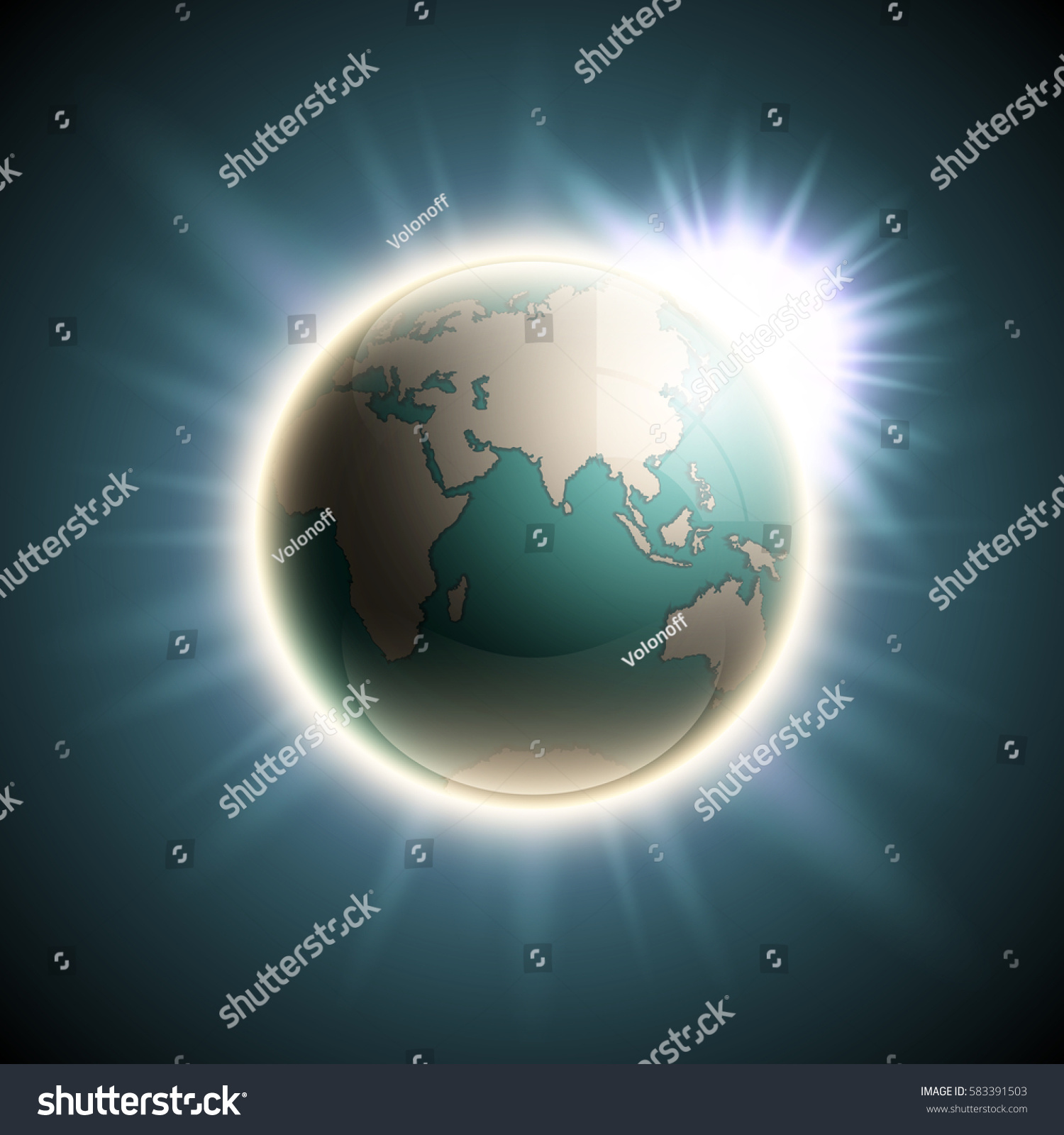 Vector world map rising sun globe stock photo photo vector vector world map with the rising sun globe icon in the space sunlight planet gumiabroncs Images