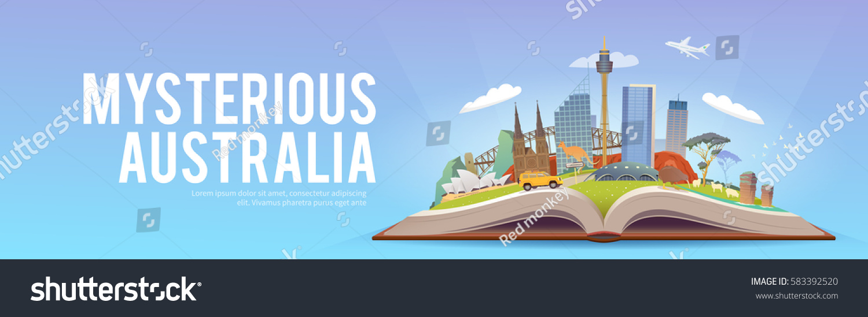 travel australia road trip tourism open stock vector 583392520 shutterstock. Black Bedroom Furniture Sets. Home Design Ideas