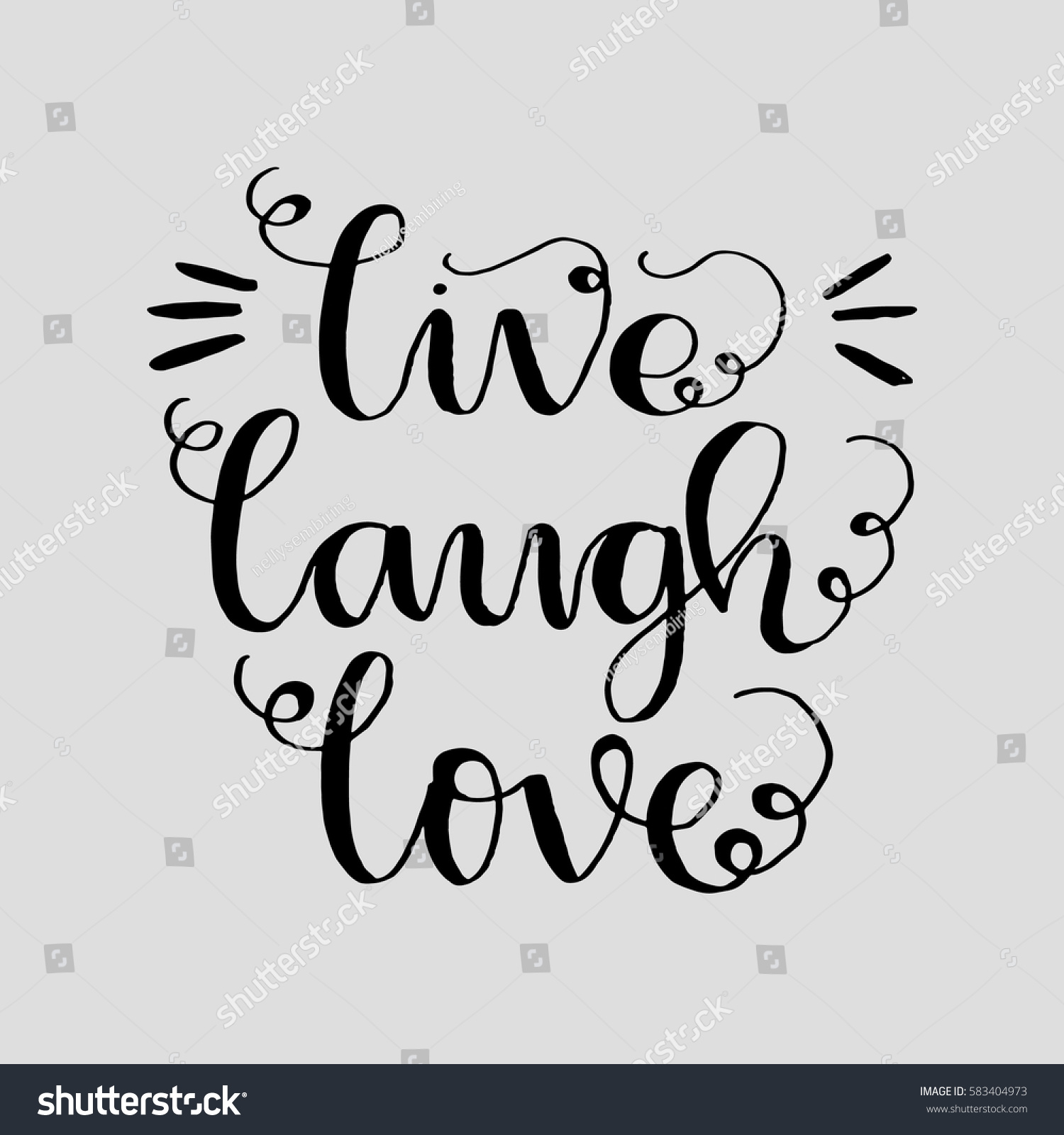 Live Laugh Love Quote Live Laugh Love Hand Lettered Quote Stock Vector 583404973