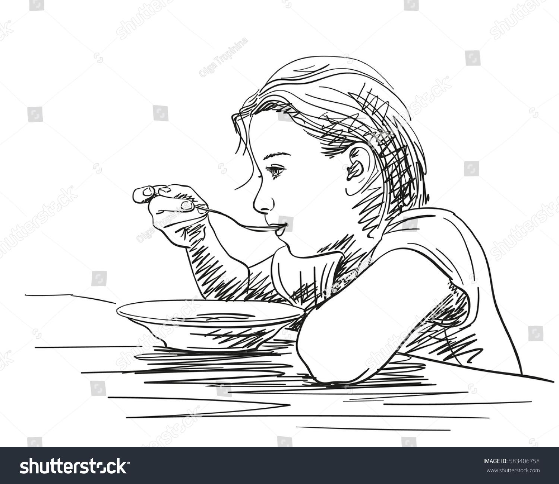 Girl Eating Food Spoon Plate Vector Stock Vector 583406758 - Shutterstock