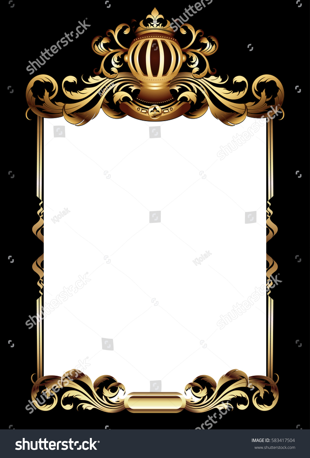 ornate gold frame border. Contemporary Ornate Ornate Golden Frame Topped With A Crown In Medieval Style In Ornate Gold Frame Border C