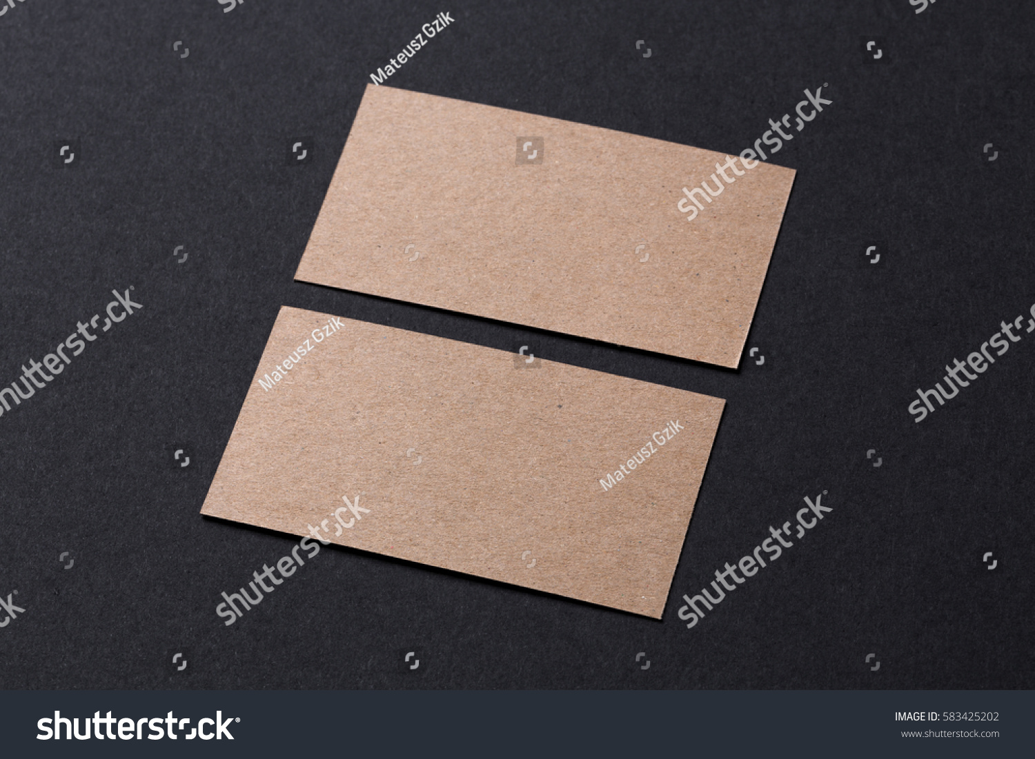 Blank Recycled Paper Business Cards Stock Photo 583425202 ...