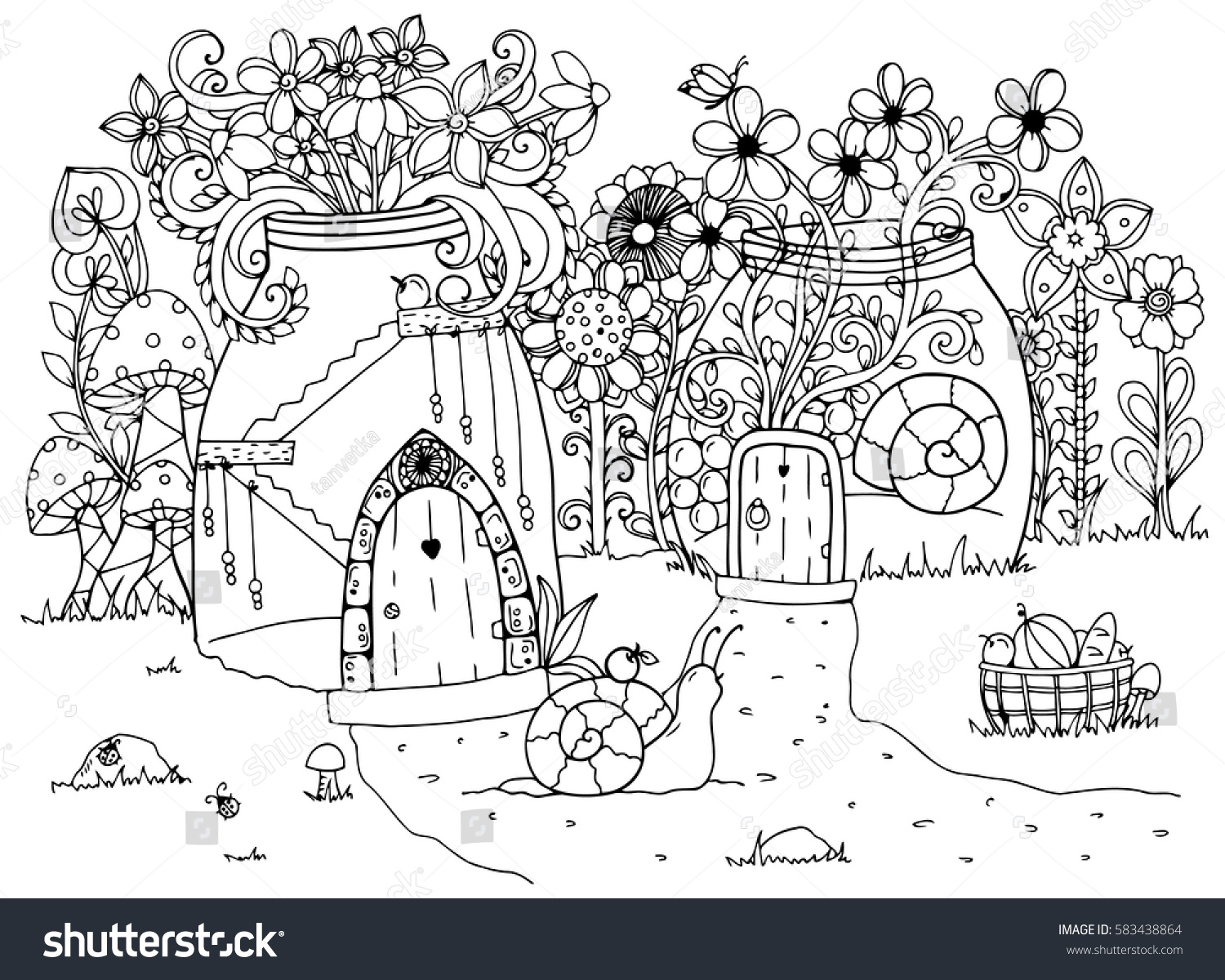 vector illustration zentangl snail house doodle stock vector