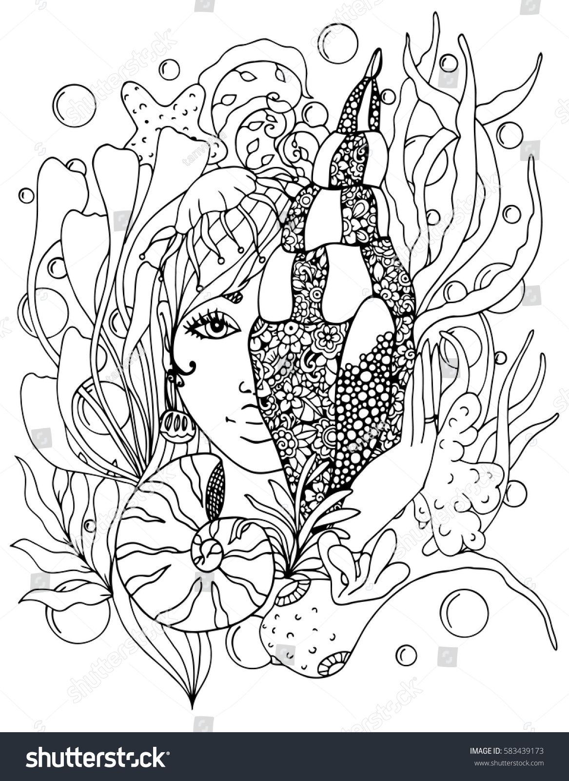 vector illustration zentangl girl with shell in the ocean doodle drawing pen coloring page