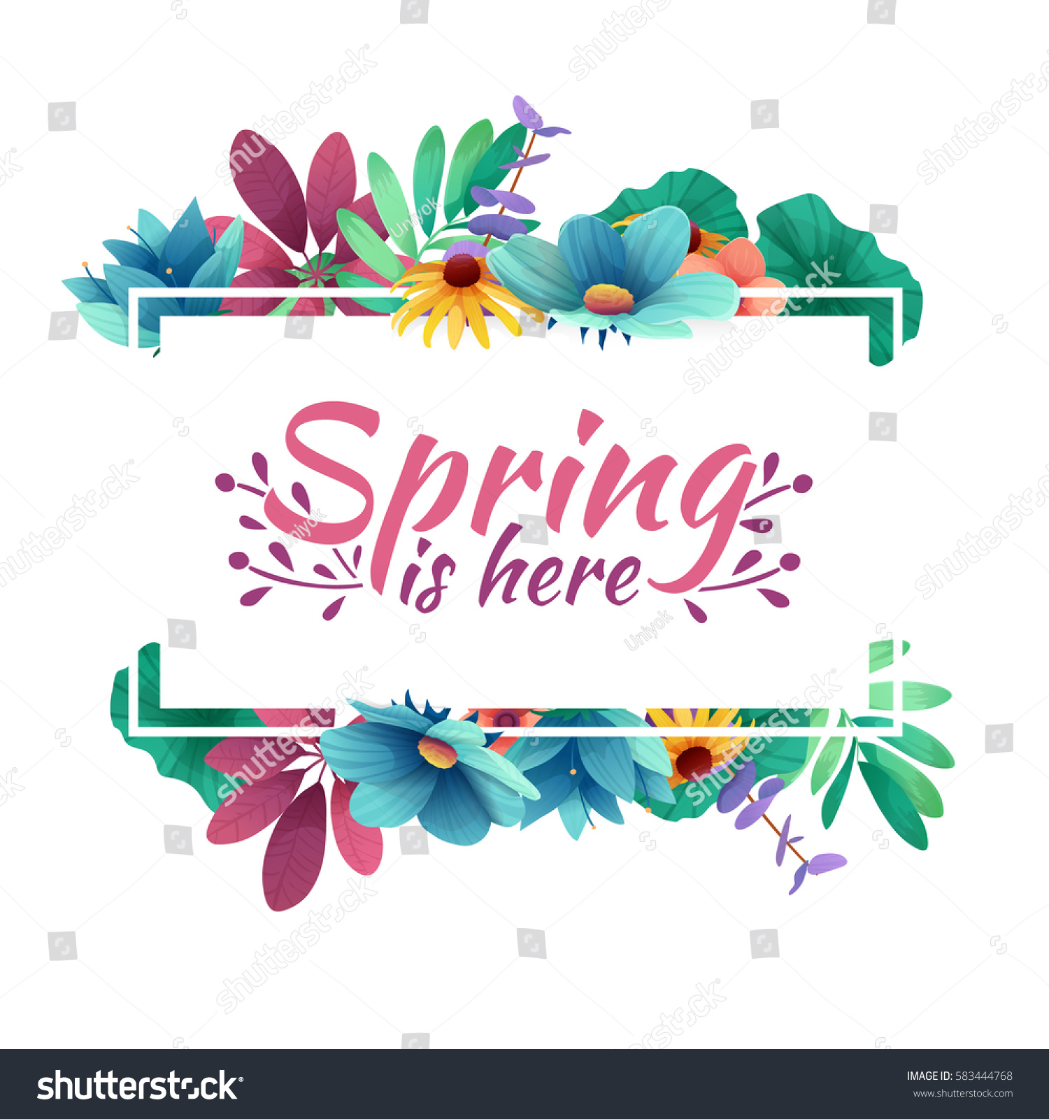 Design banner with  spring is here logo. Card for spring season with white frame and herb. Promotion offer with spring plants, leaves and flowers decoration.  Vector #583444768