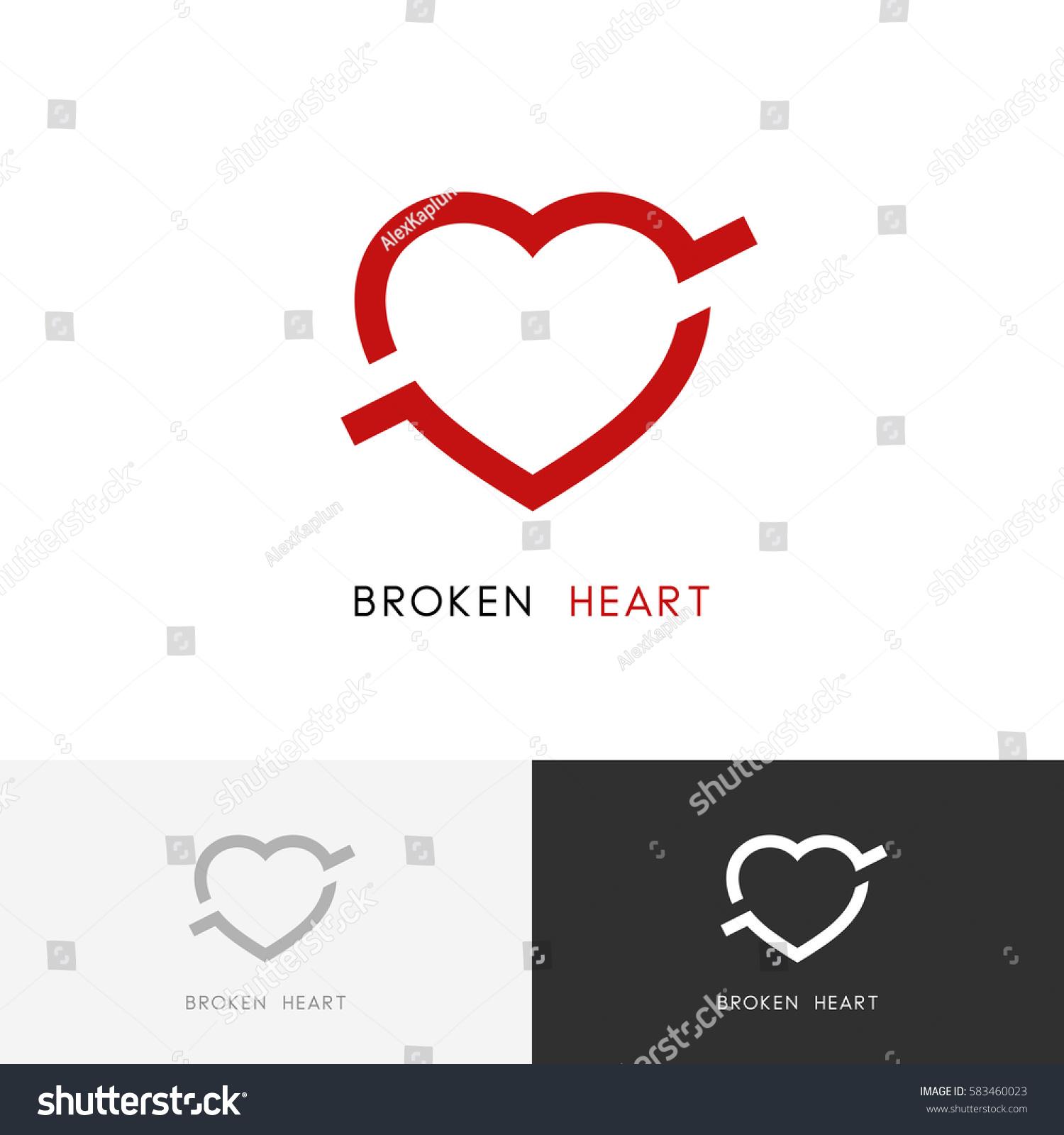 Broken Heart Logo Arrow Bullet Love Stock Vector 583460023