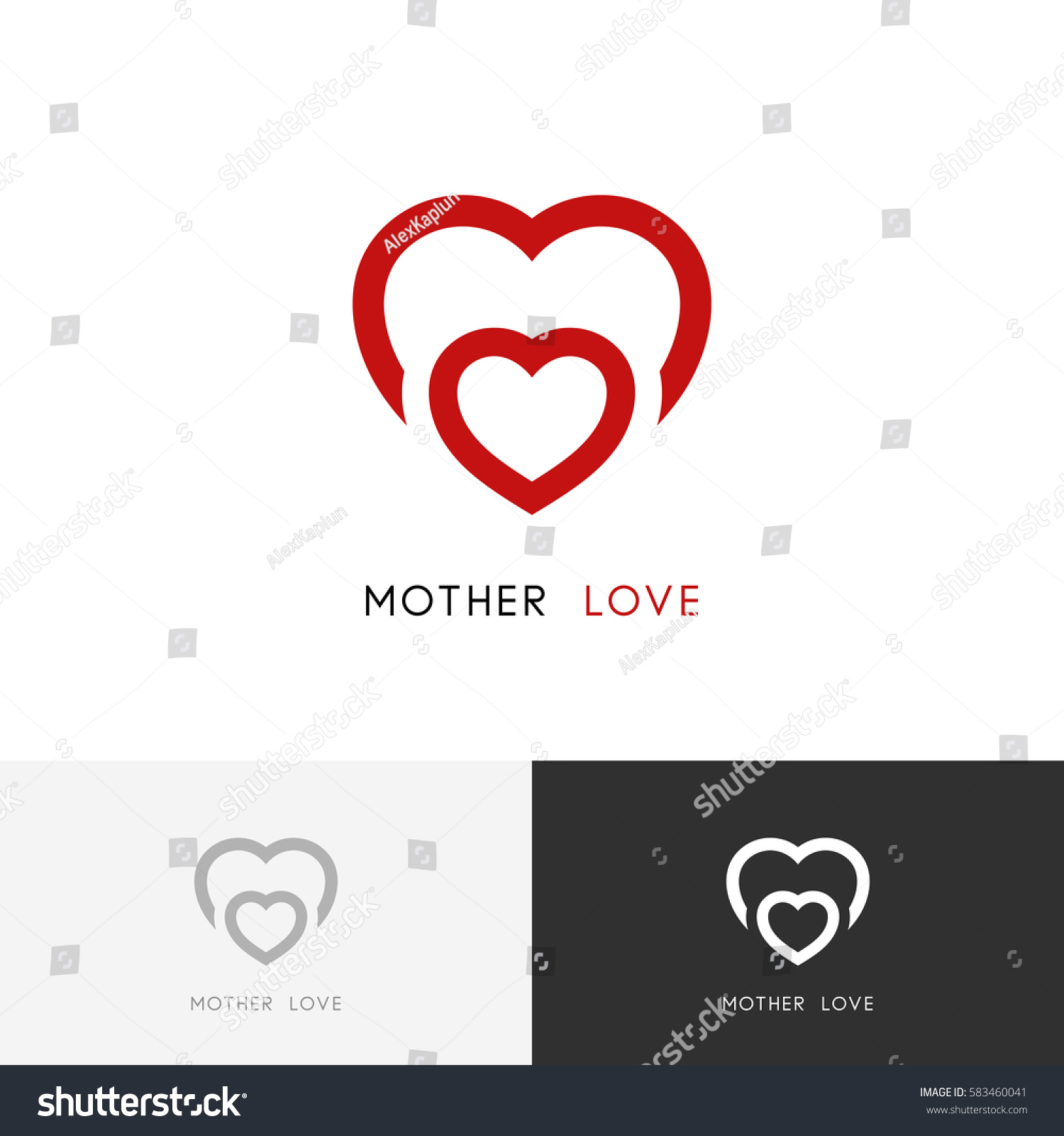 Mother love logo two red hearts stock vector 583460041 shutterstock mother love logo two red hearts mom with a child baby care symbol biocorpaavc Gallery